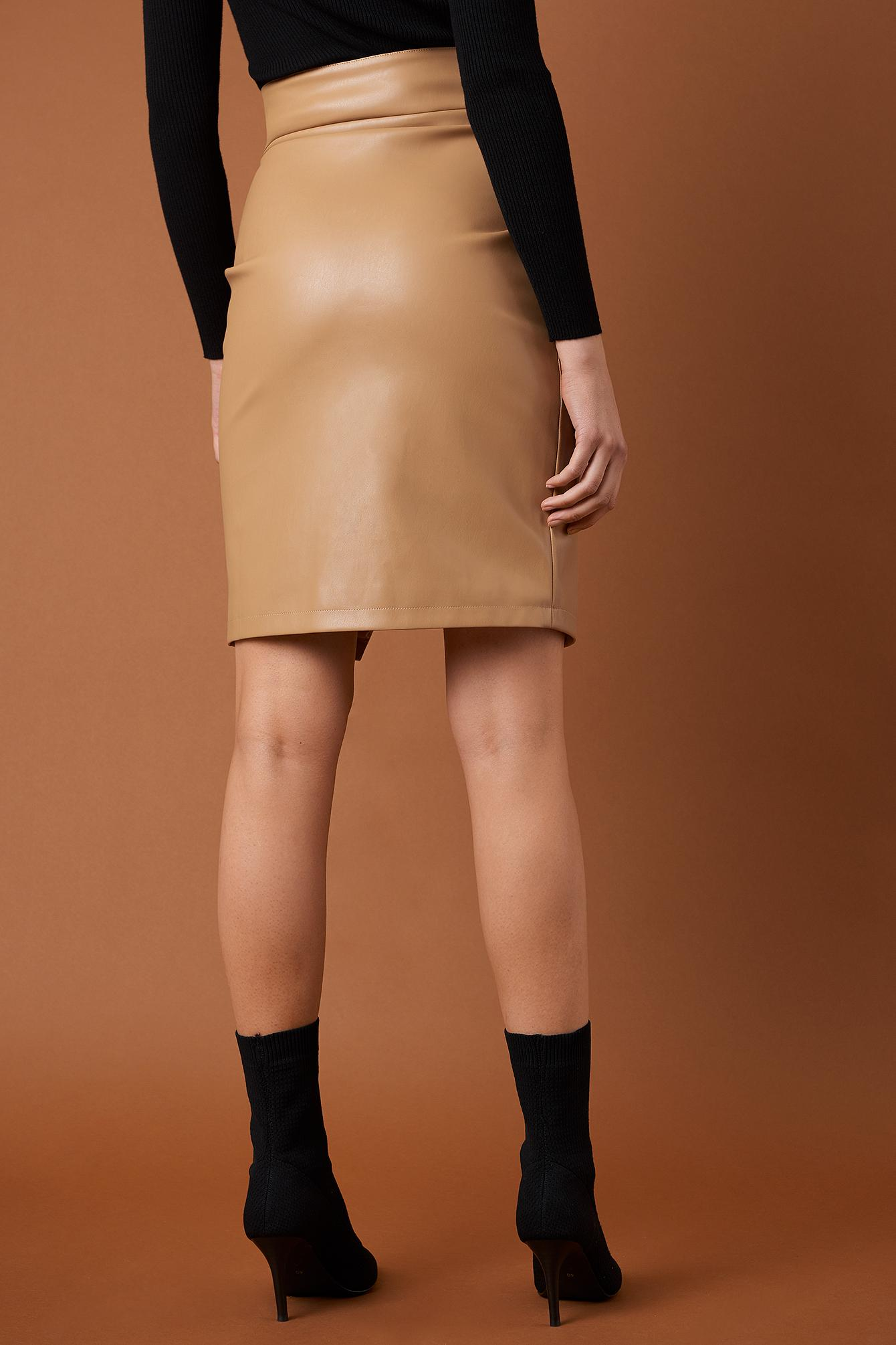8d06e8ca36 NA-KD - Brown Front Zipper Pu Skirt Tan - Lyst. View fullscreen