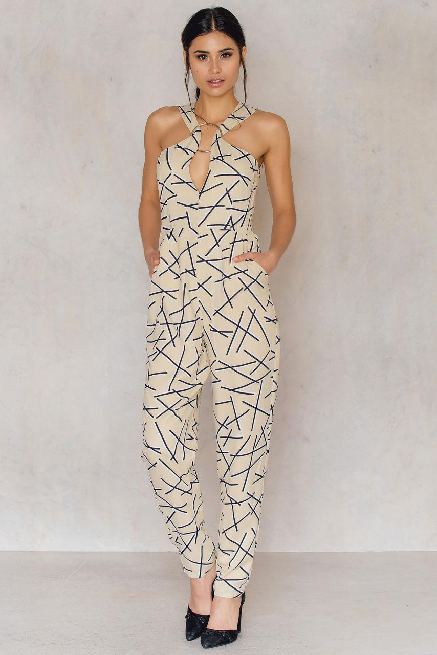 5ea313934f Lyst - Lavish Alice Abstract Metal Ring Plung Jumpsuit in Metallic