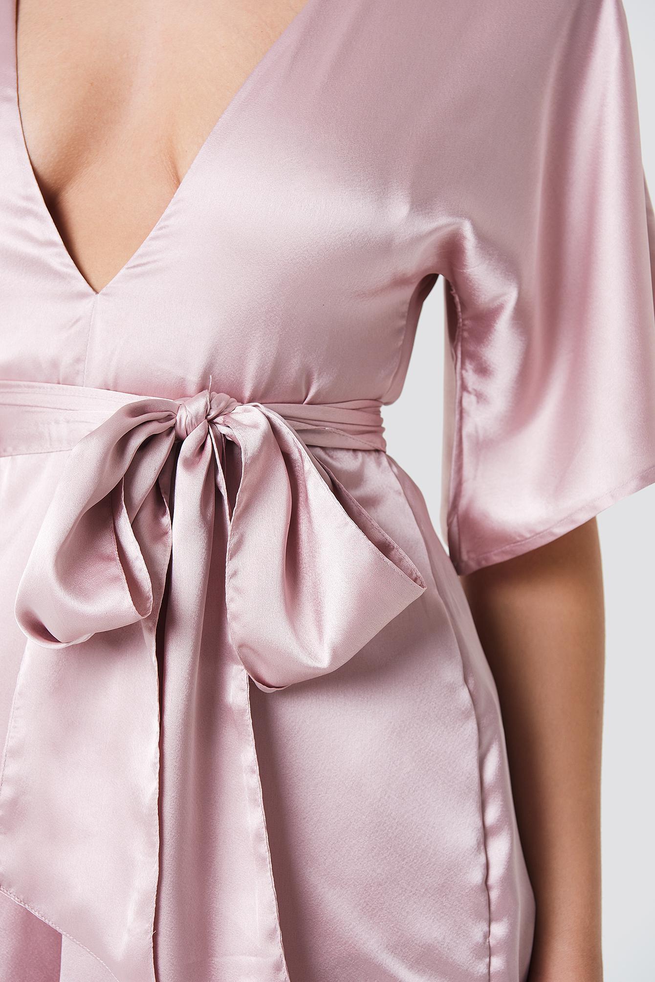 0ca7a81ee3d NA-KD - Deep V-neck Silky Playsuit Light Dusty Pink - Lyst. View fullscreen