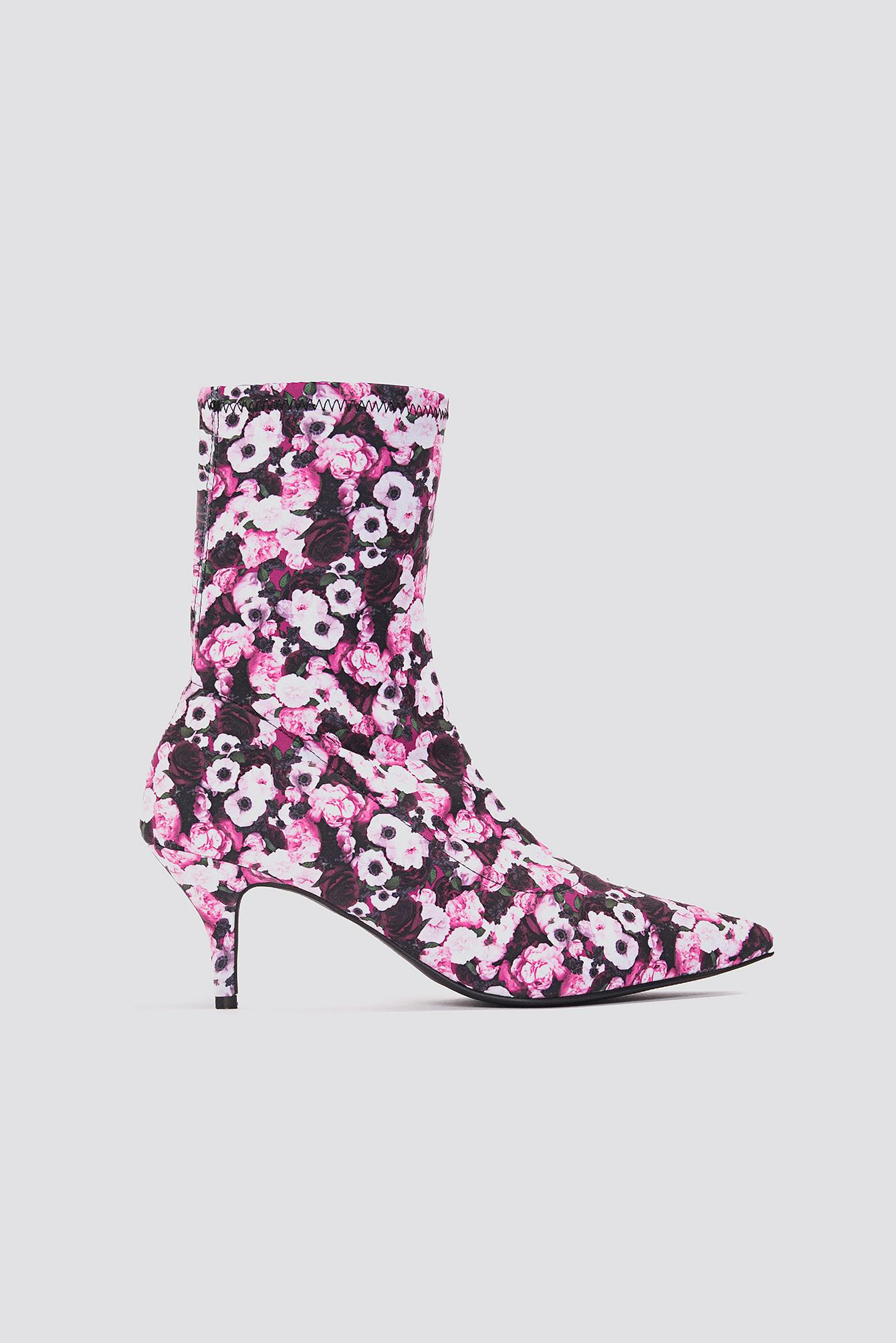 f19ca26ef38 Lyst - NA-KD Kitten Heel Sock Boot Pink Flower in Pink - Save 76%