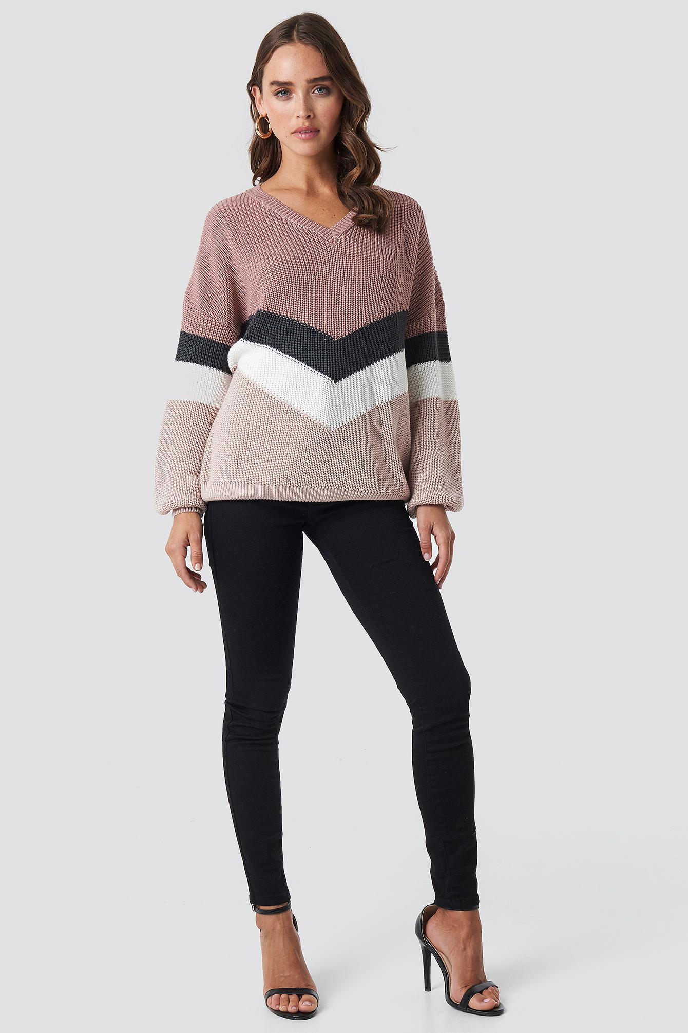 Color Lyst Pink Blocked Kd Dusty Balloon Na Sweater Sleeve Knitted qEwOCAE