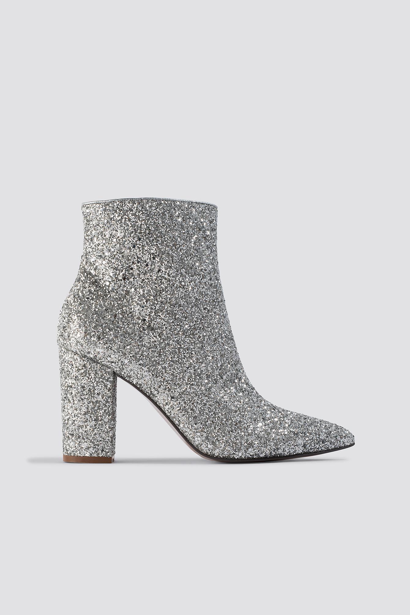 sale retailer 12ad1 e1d30 NA-KD - Metallic Glitter Heel Boots Silver - Lyst. View fullscreen