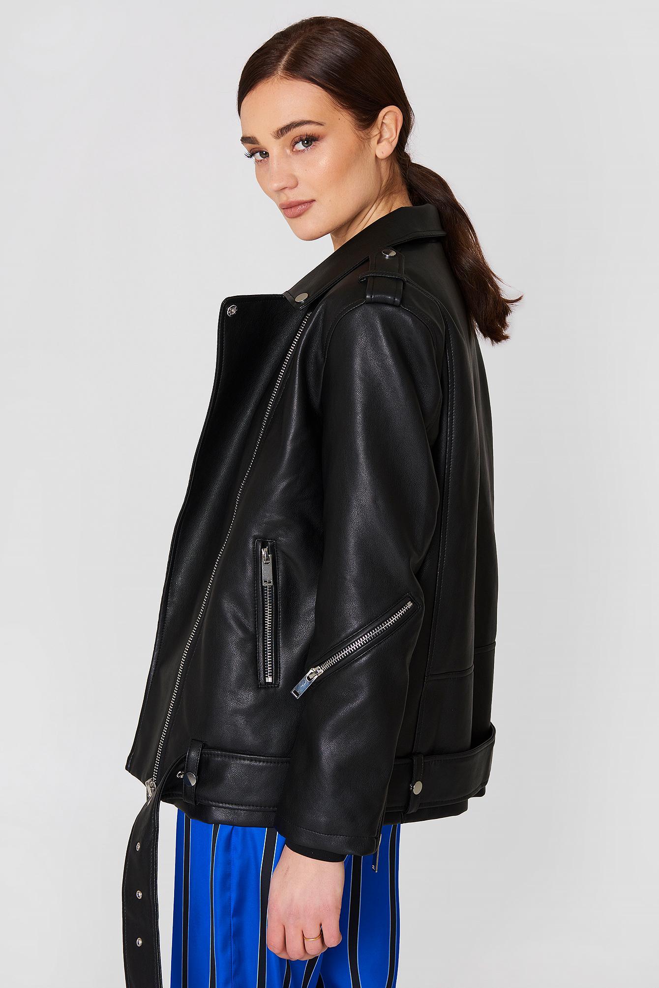 fashionable and attractive package yet not vulgar san francisco Mango Biker Oversize Jacket Black