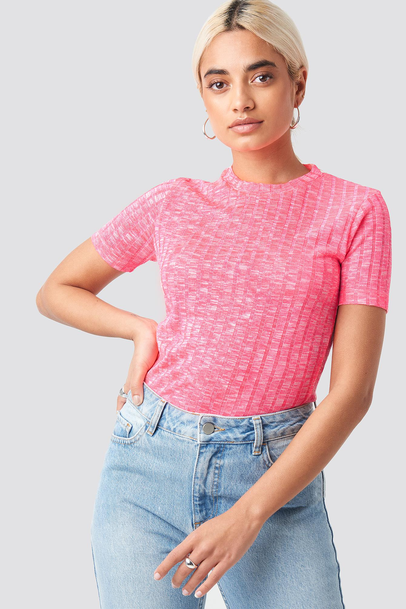 28db132d220 Lyst - Trendyol Neon Fitted T-shirt Pink in Pink