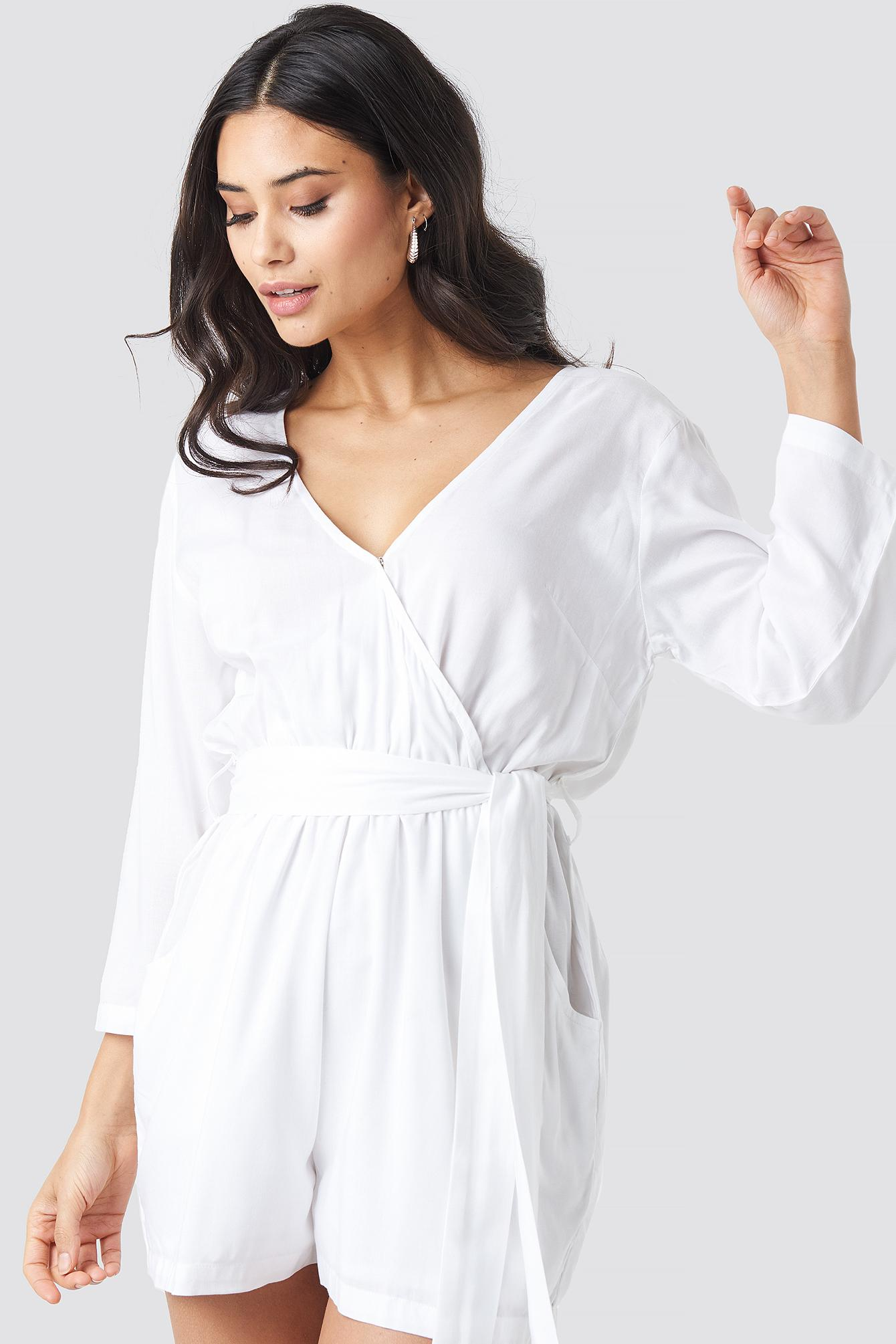 1f009d0779f NA-KD Wrap Playsuit White in White - Lyst