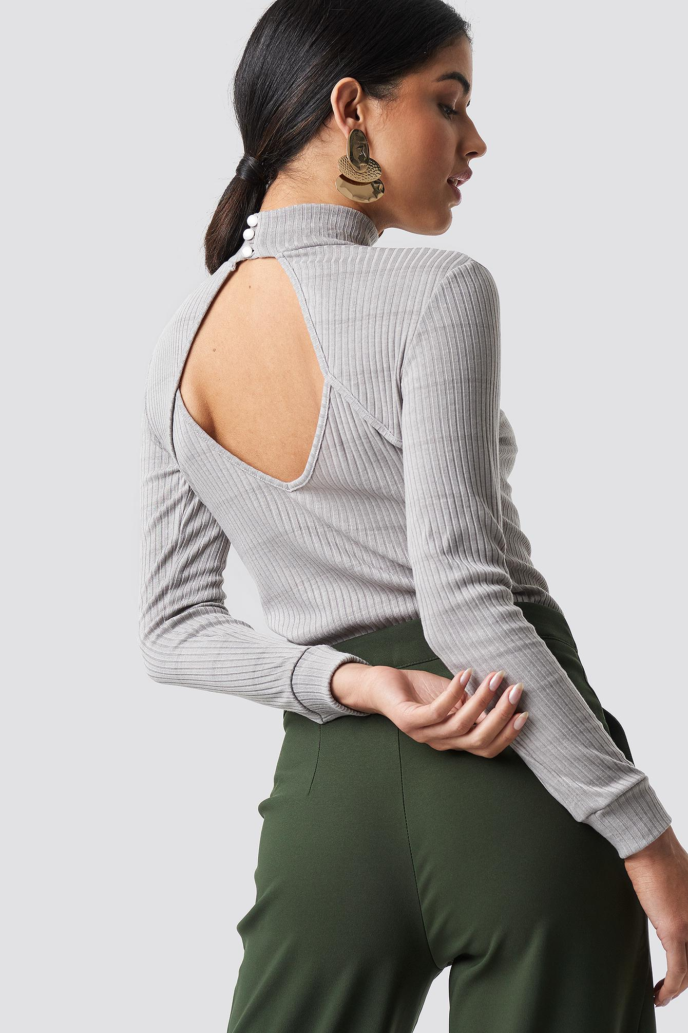 c01043b225c Lyst - Trendyol Open Back Knitted Blouse Gray in Gray