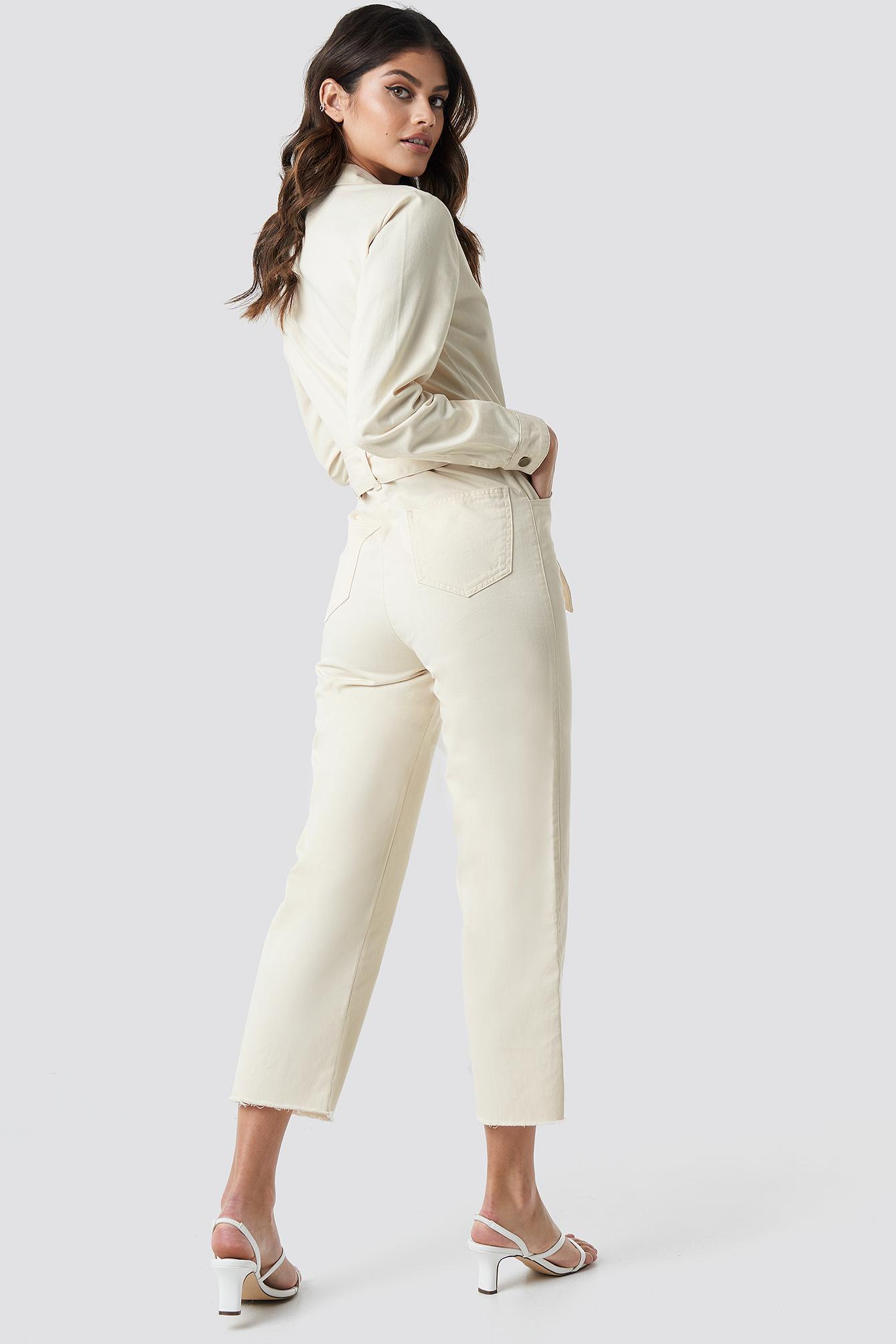 de23d8e916b ... Front Tie Denim Jumpsuit Off White - Lyst. View fullscreen