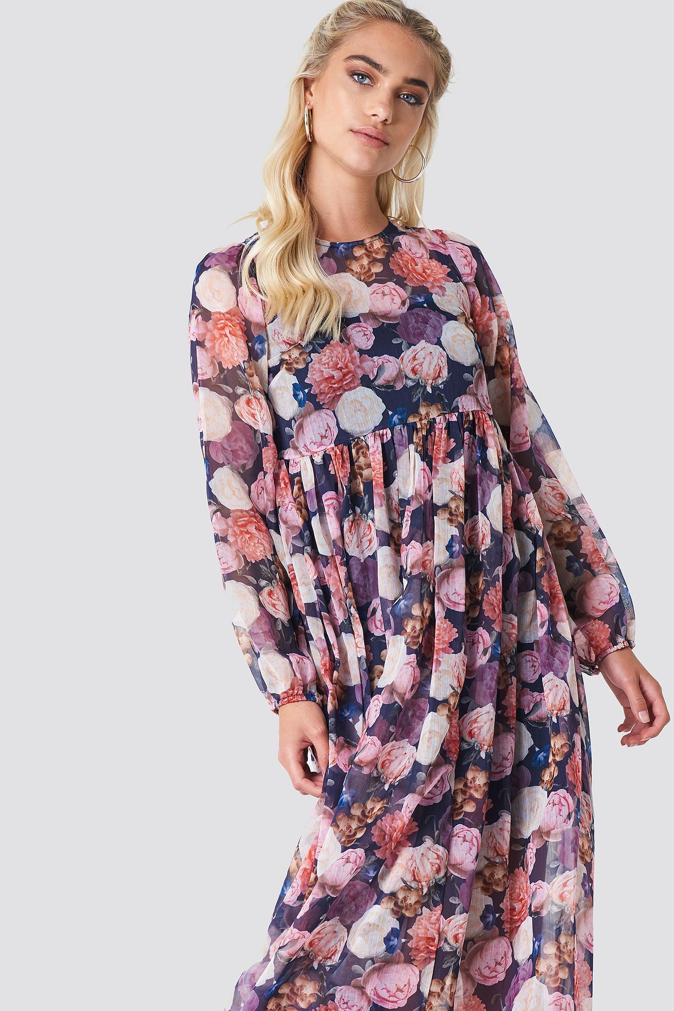 fe62b5922e NA-KD. Women's Balloon Sleeve Maxi Dress Multicolor