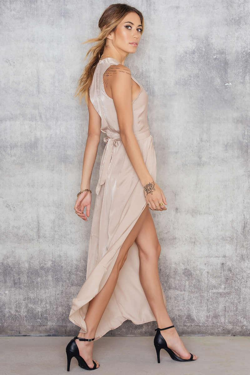 Lyst Luxe Fashion Label Lush Maxi Playsuit In Natural