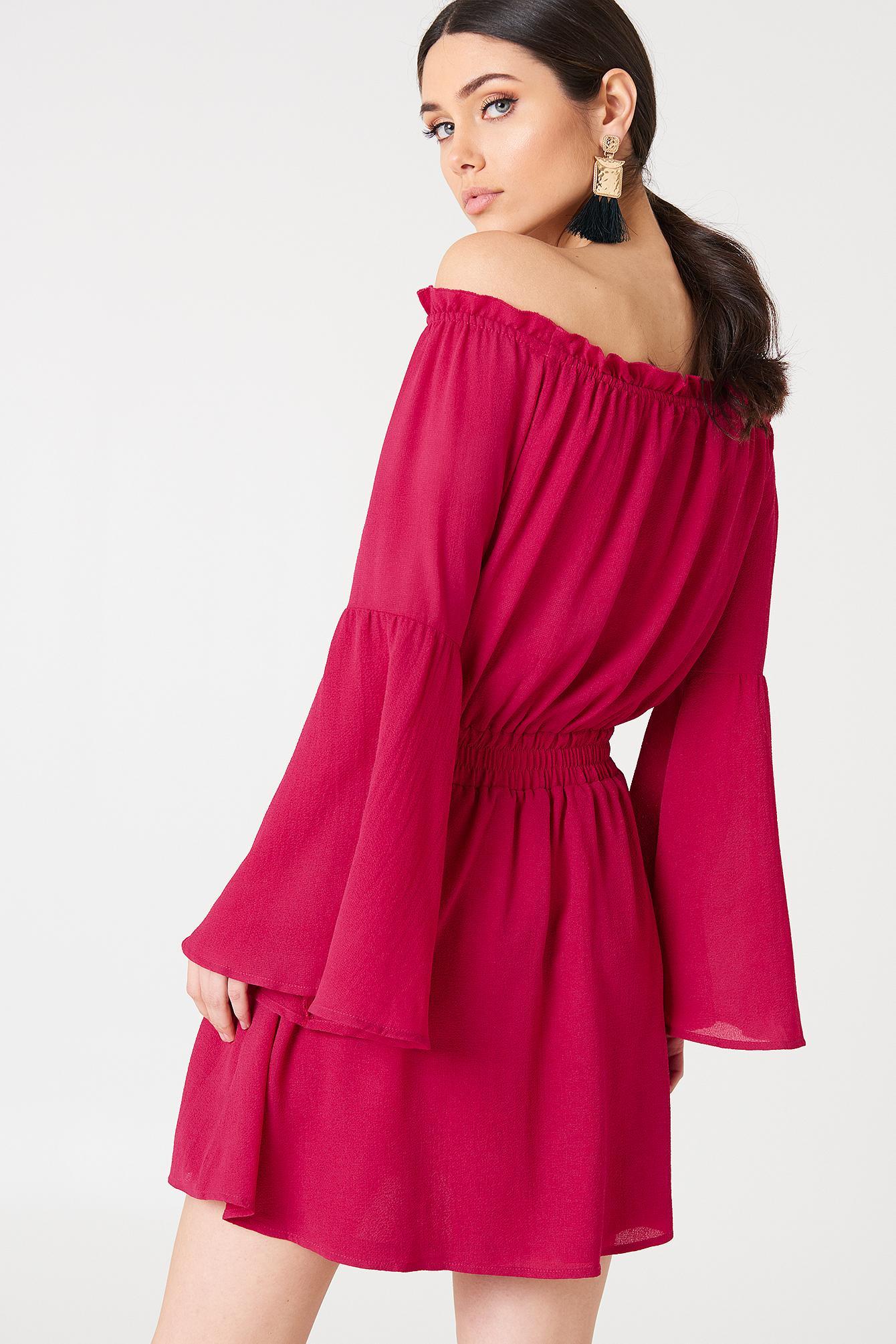 bec54289fda NA-KD Wide Sleeve Off Shoulder Dress Dark Pink in Pink - Lyst