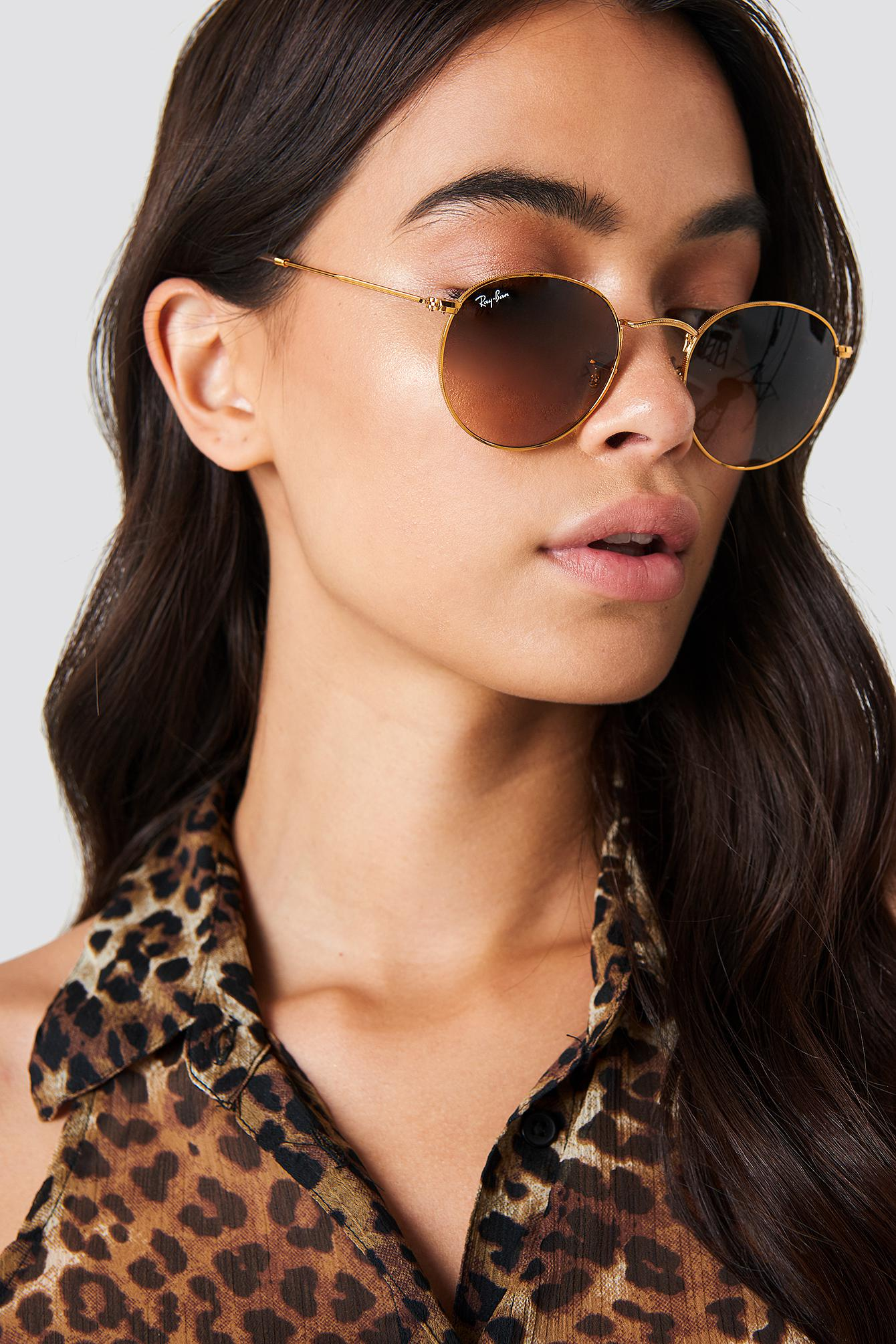 f5d9a5fea935 Ray-Ban Metal Round 1 Shiny Light Bronze in Pink - Lyst