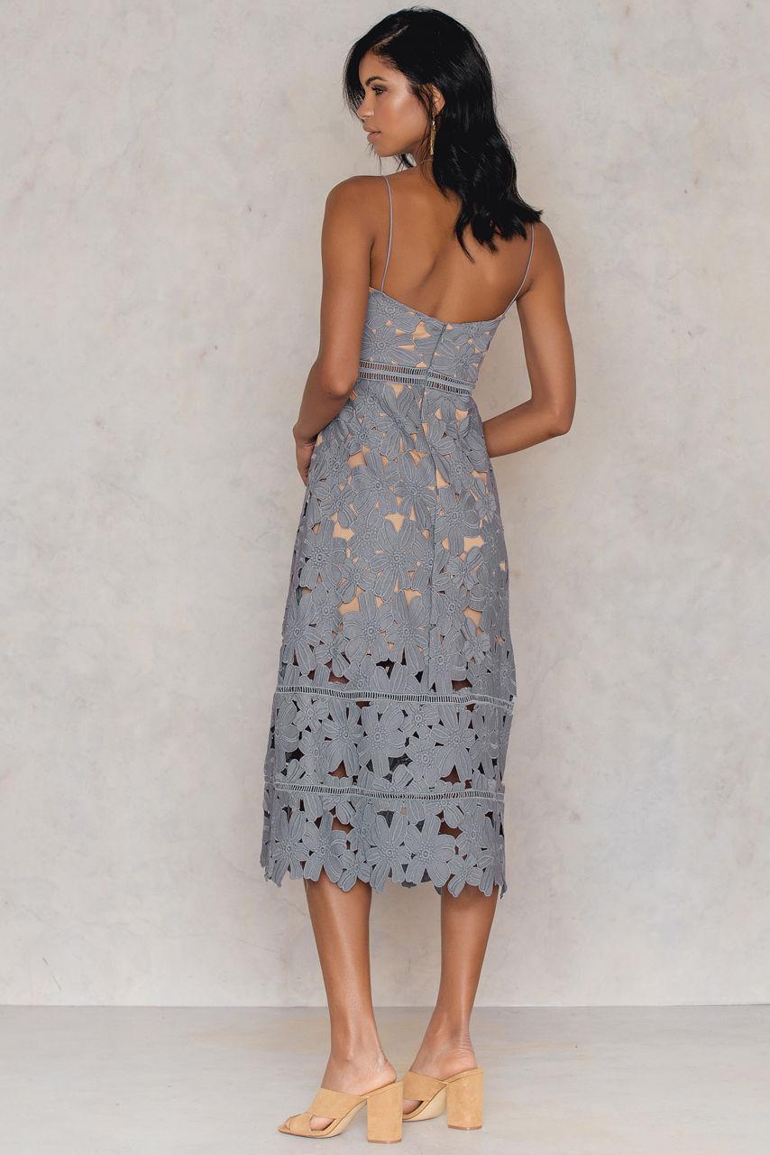 Na-kd Floral Crochet Midi Dress in Black | Lyst