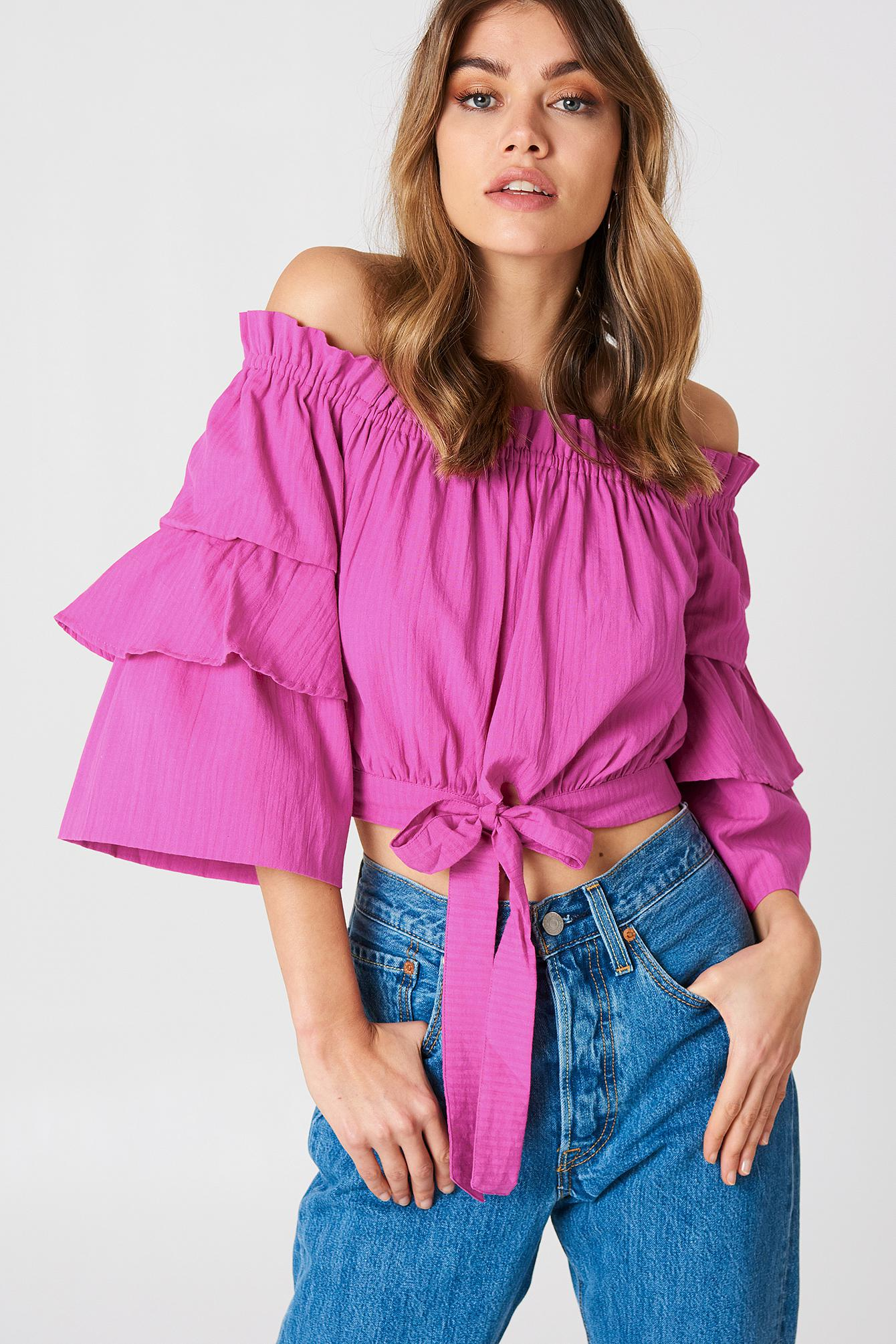 b549dcc3ef92a9 Lyst - NA-KD Off Shoulder Frill Sleeve Top Strong Pink in Pink