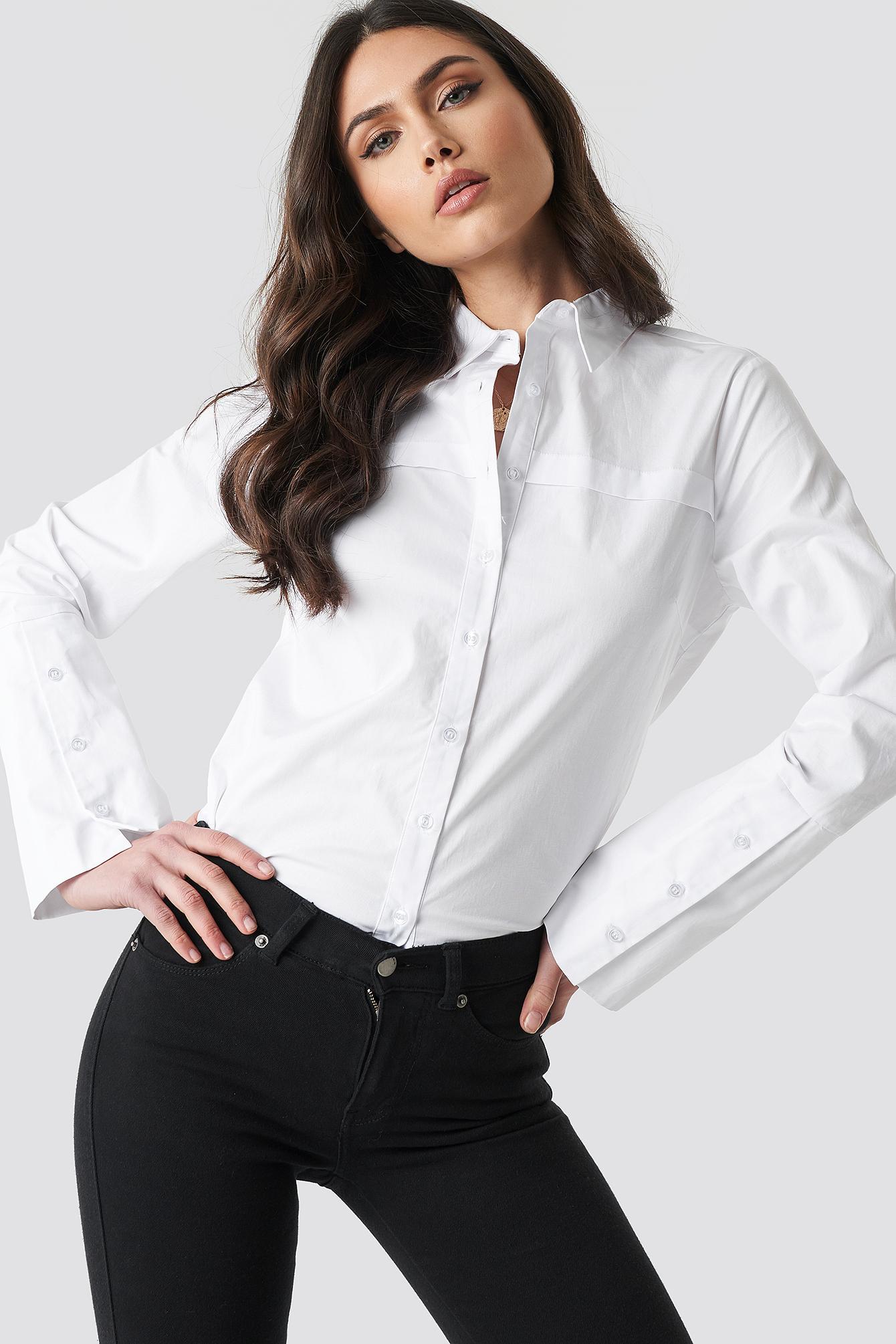 27dc388b03227d NA-KD Wide Cuff Shirt White in White - Lyst