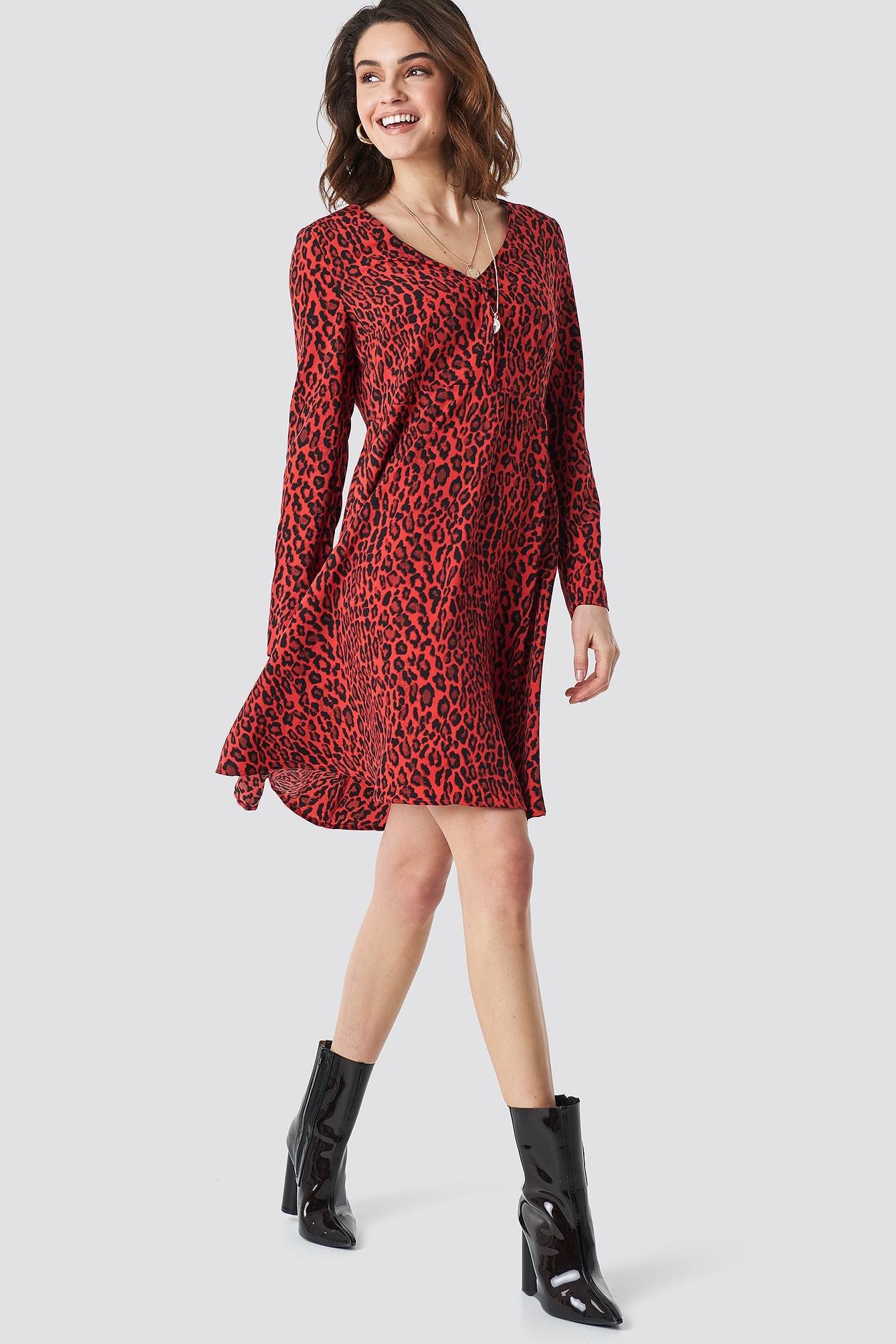 the best attitude 9572e f36a8 NA-KD. Women s Leopard Print Button Up Ls Dress ...