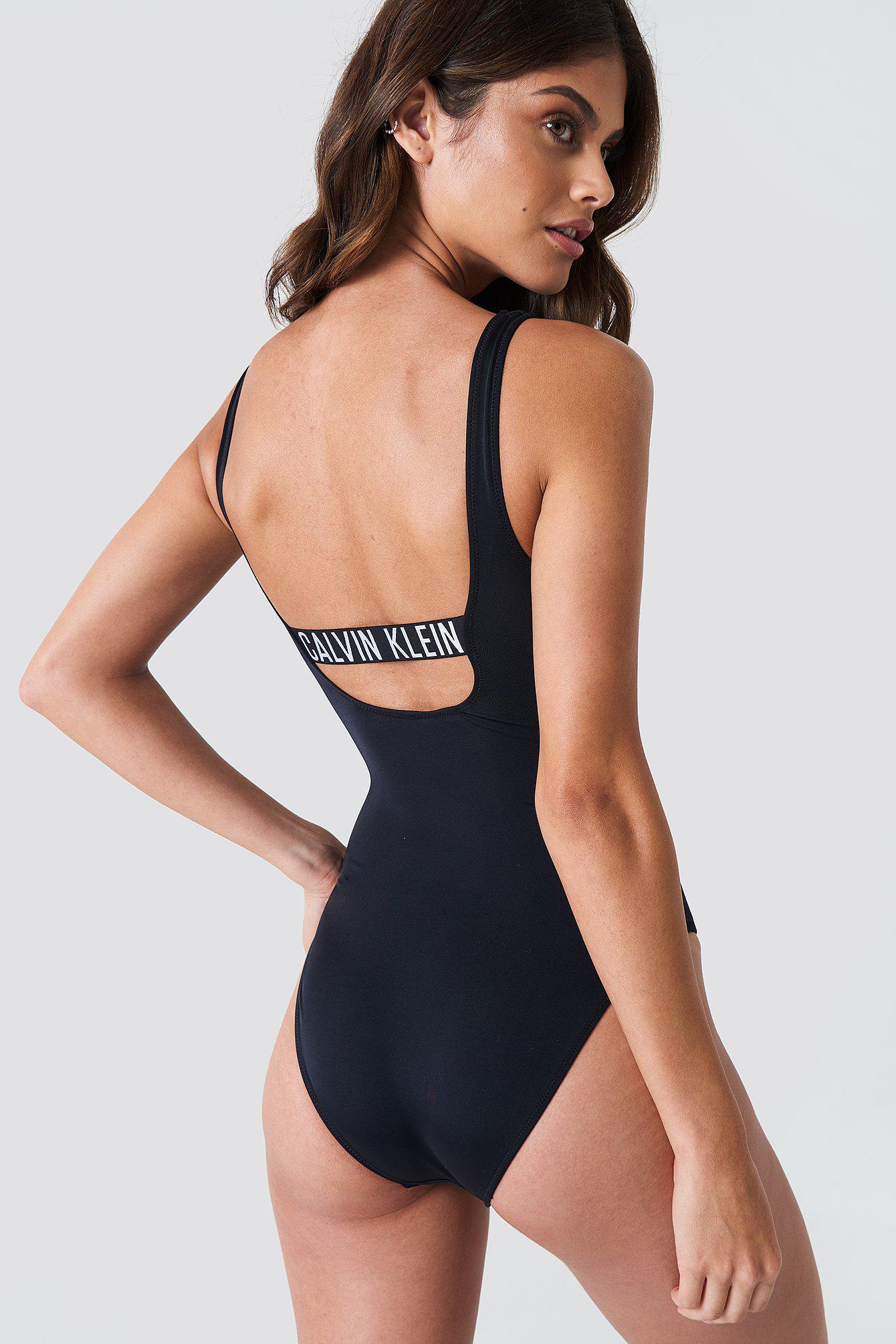 bc8f90a472 Calvin Klein Square Scoop One Piece Rp Pvh Black in Black - Lyst