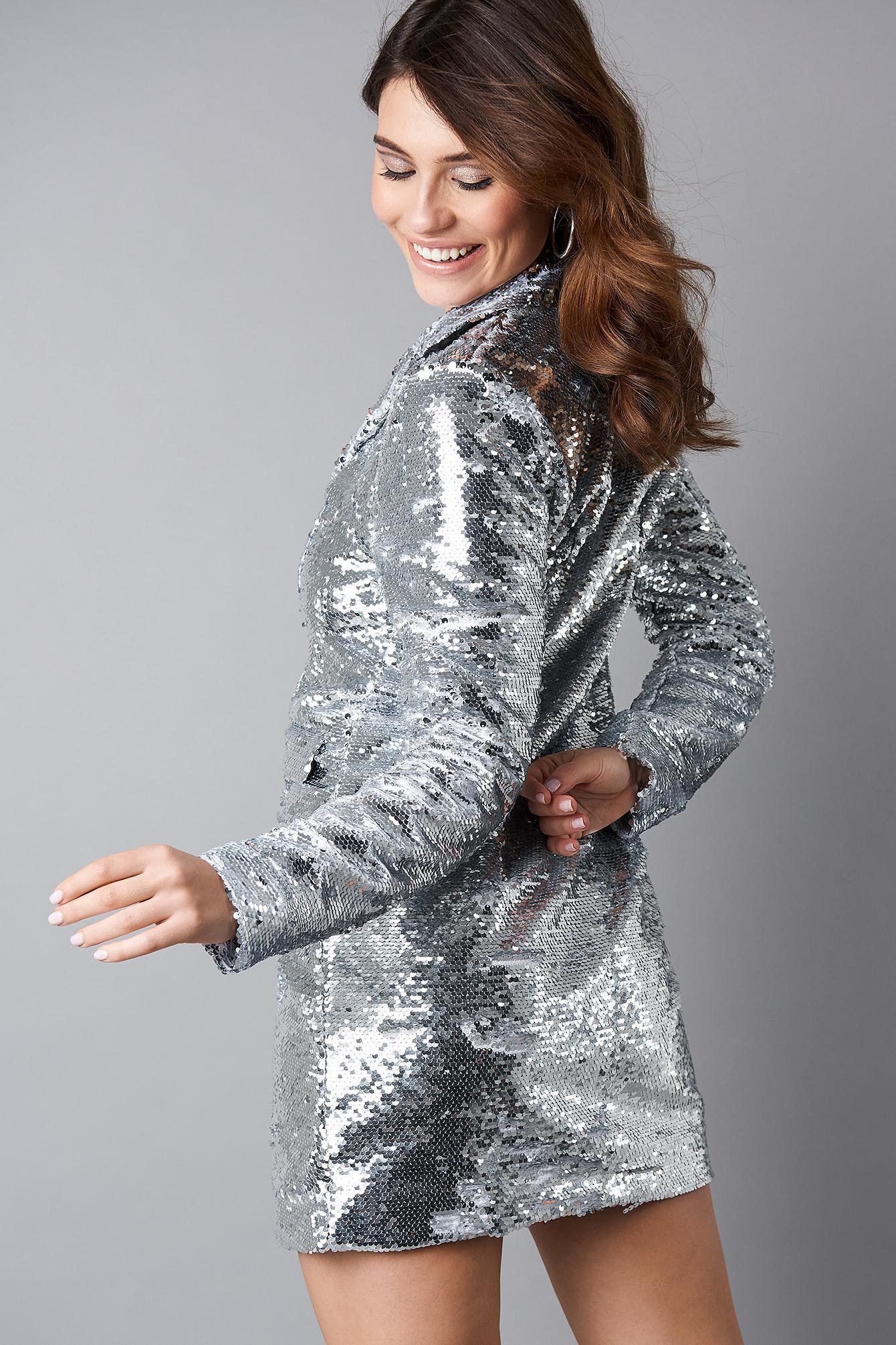 46c202b429 Lyst - NA-KD Oversized Sequins Blazer Dress Silver in Metallic