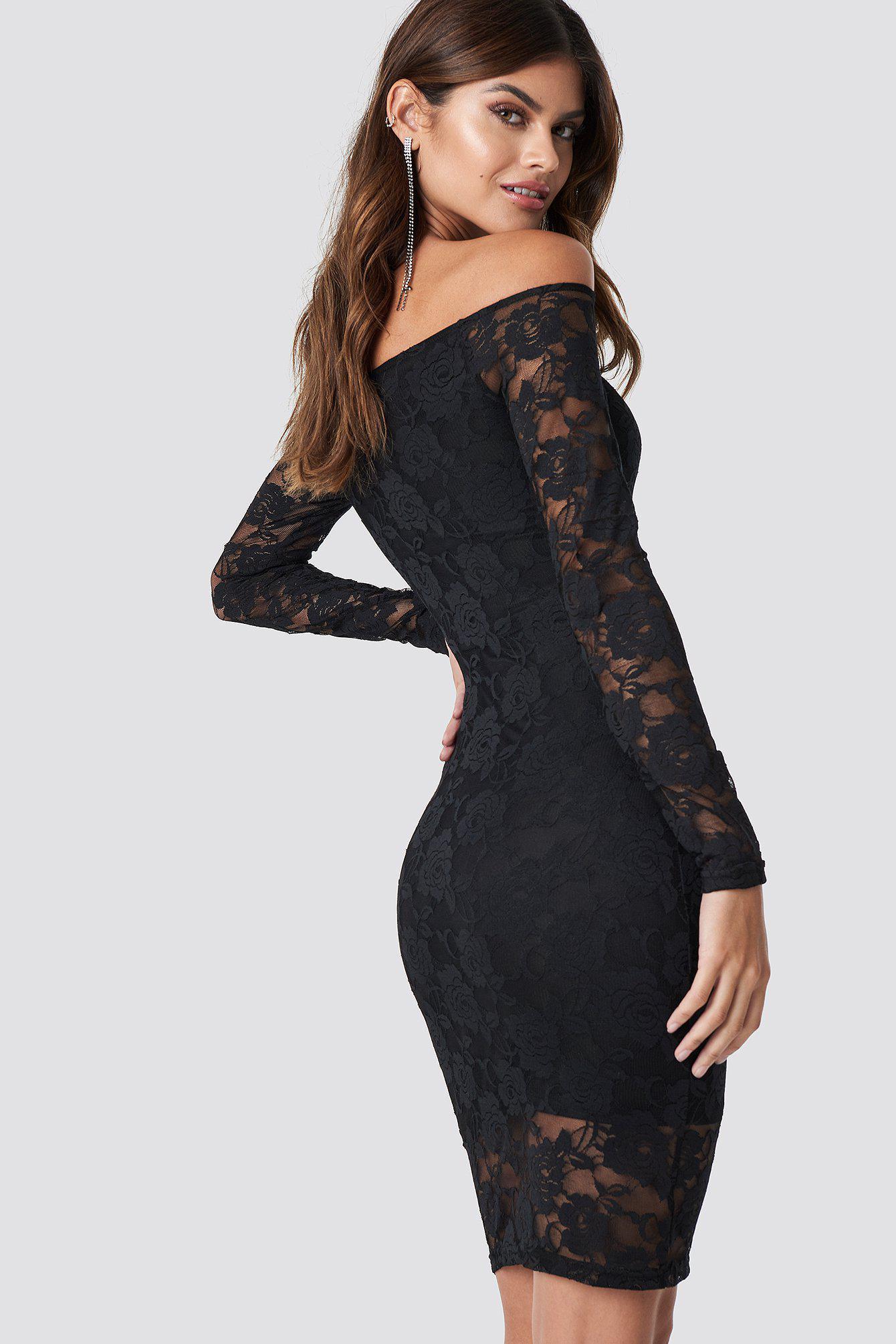 5f756c1523a NA-KD - Off Shoulder Lace Dress Black - Lyst. View fullscreen