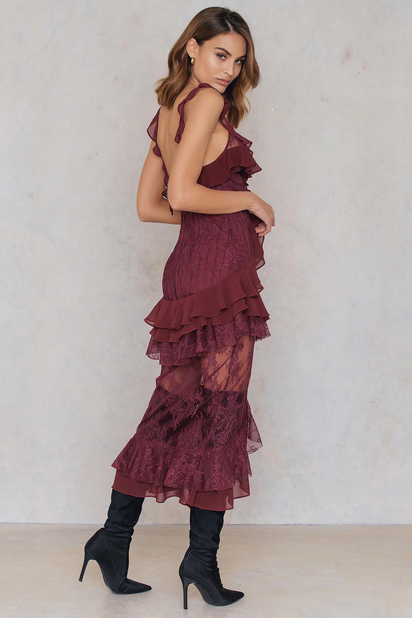 e5a85e27a96b For Love & Lemons Daphne Lace Midi Dress in Purple - Lyst