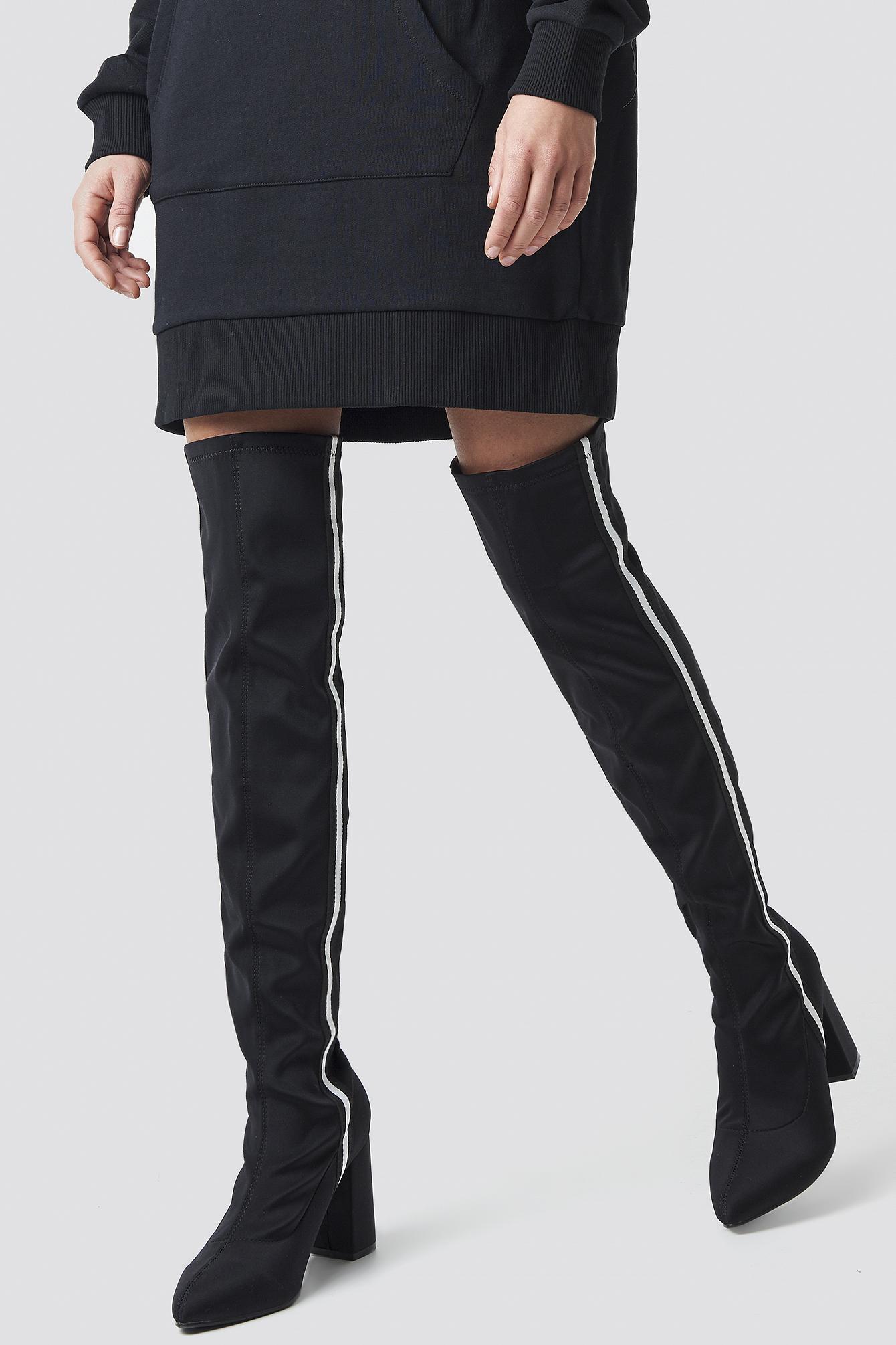 release date f270d fe6b2 NA-KD - Striped Overknee Boots Black - Lyst. View fullscreen