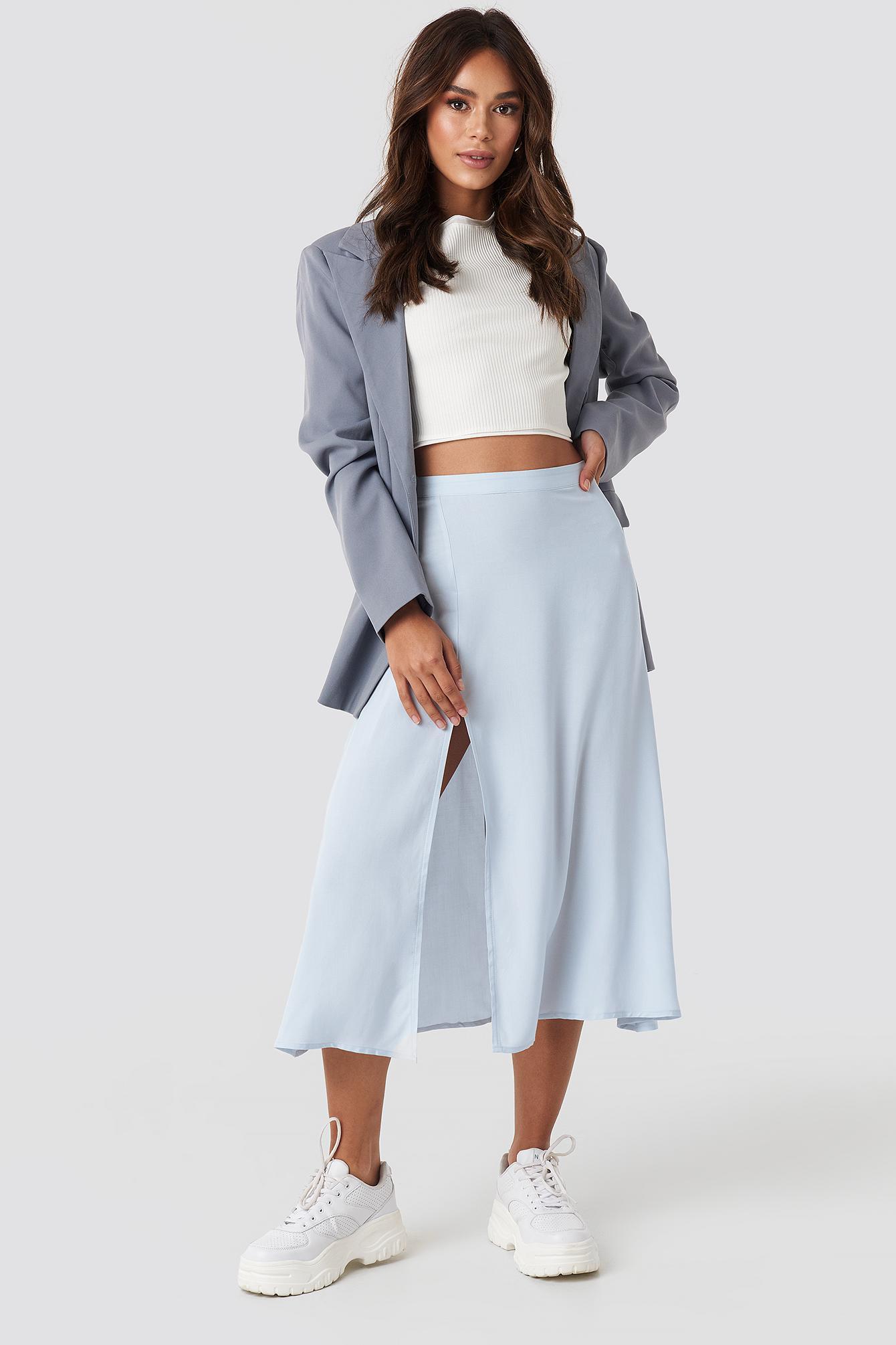 58dee3f3e NA-KD - Side Split Midi Skirt Blue - Lyst. View fullscreen