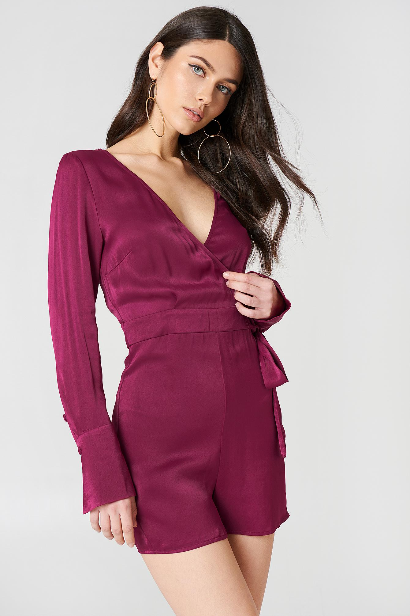 c38769e110c Lyst - NA-KD Overlap Satin Playsuit Burgundy in Purple