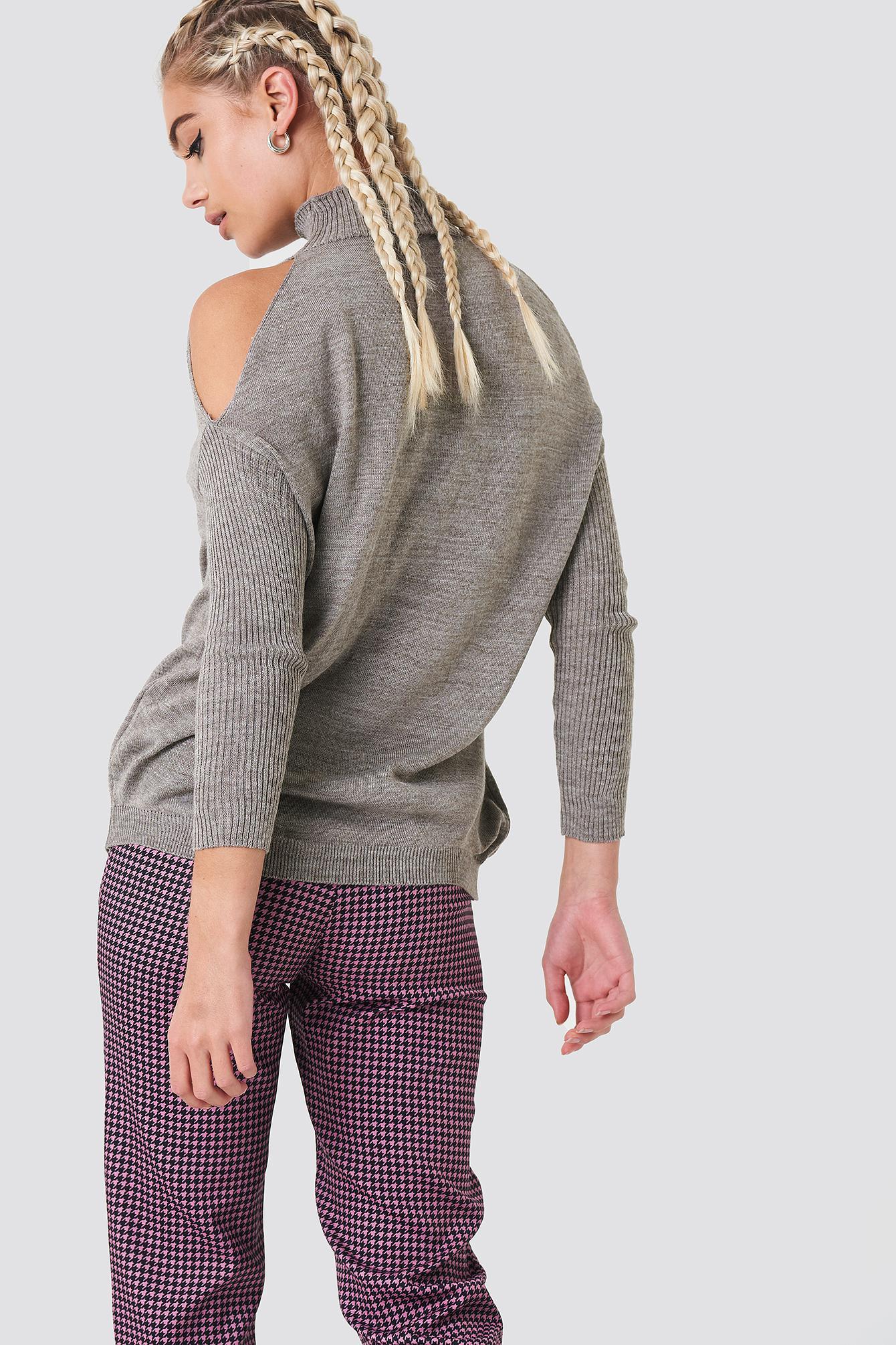 Trendyol - Gray Open Shoulder Knit - Lyst. View Fullscreen
