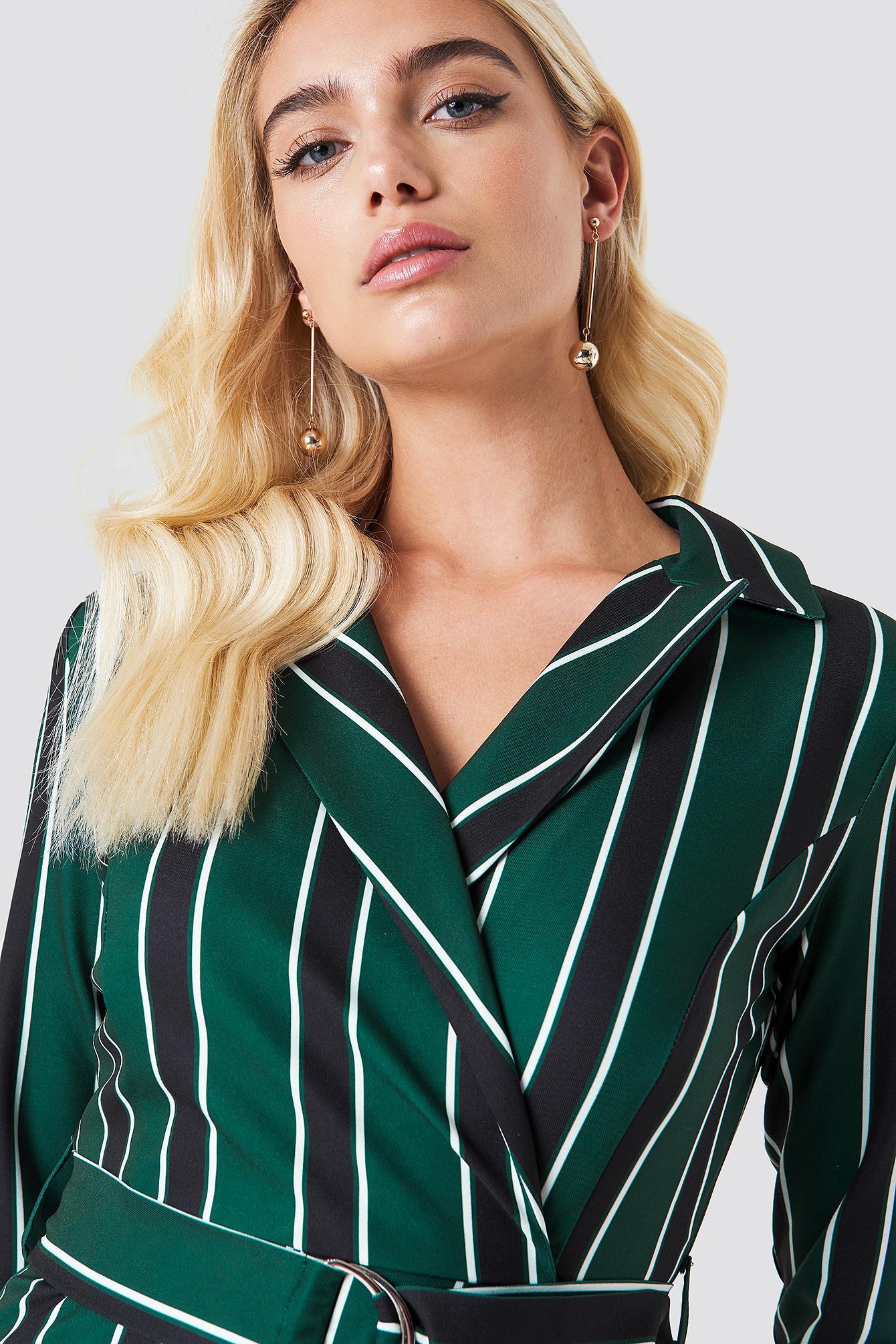 52279b892e2 Lyst - Trendyol Striped Wrap Playsuit in Green