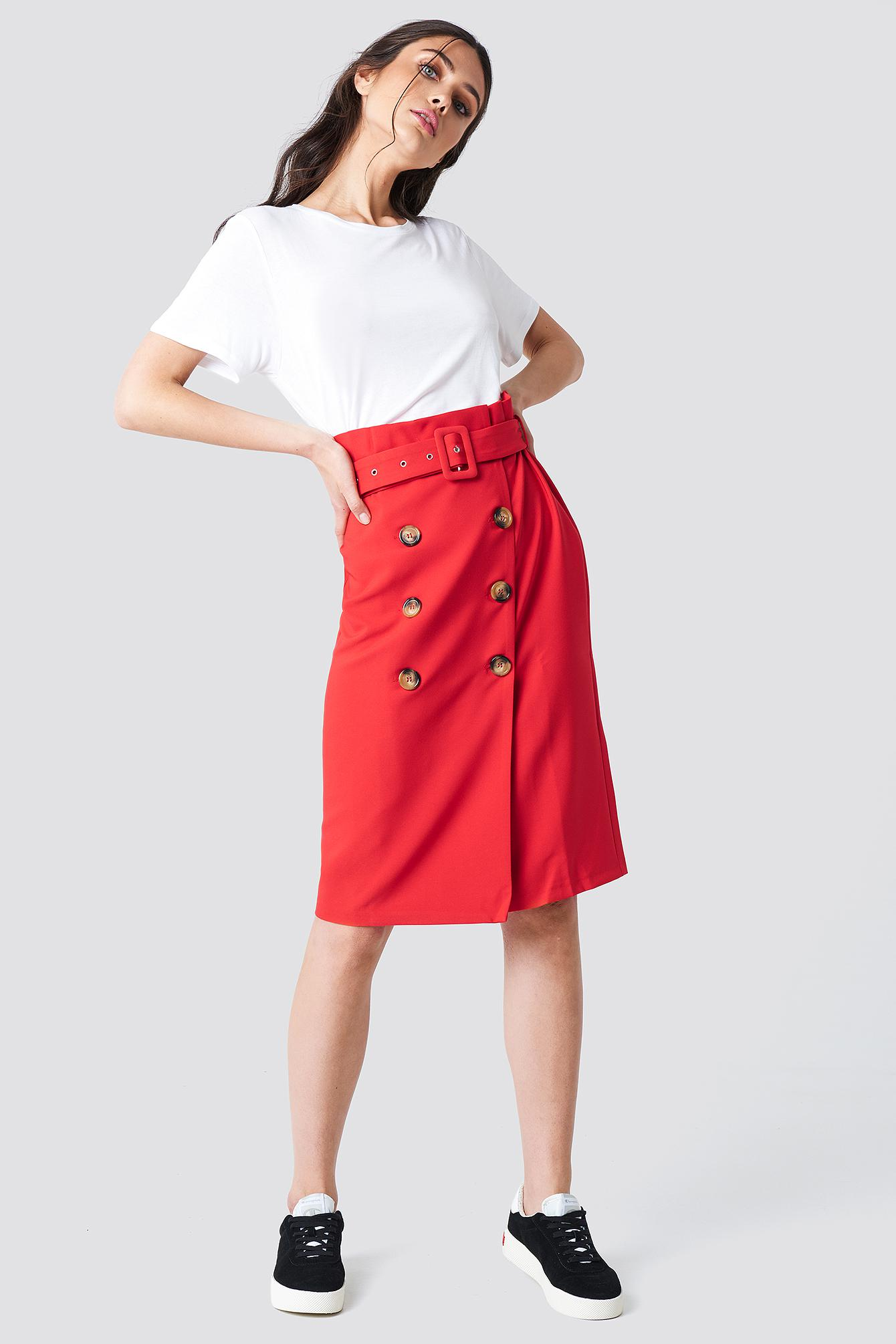 809f440f3 Lyst - Trendyol Button Detailed Midi Skirt Red in Red