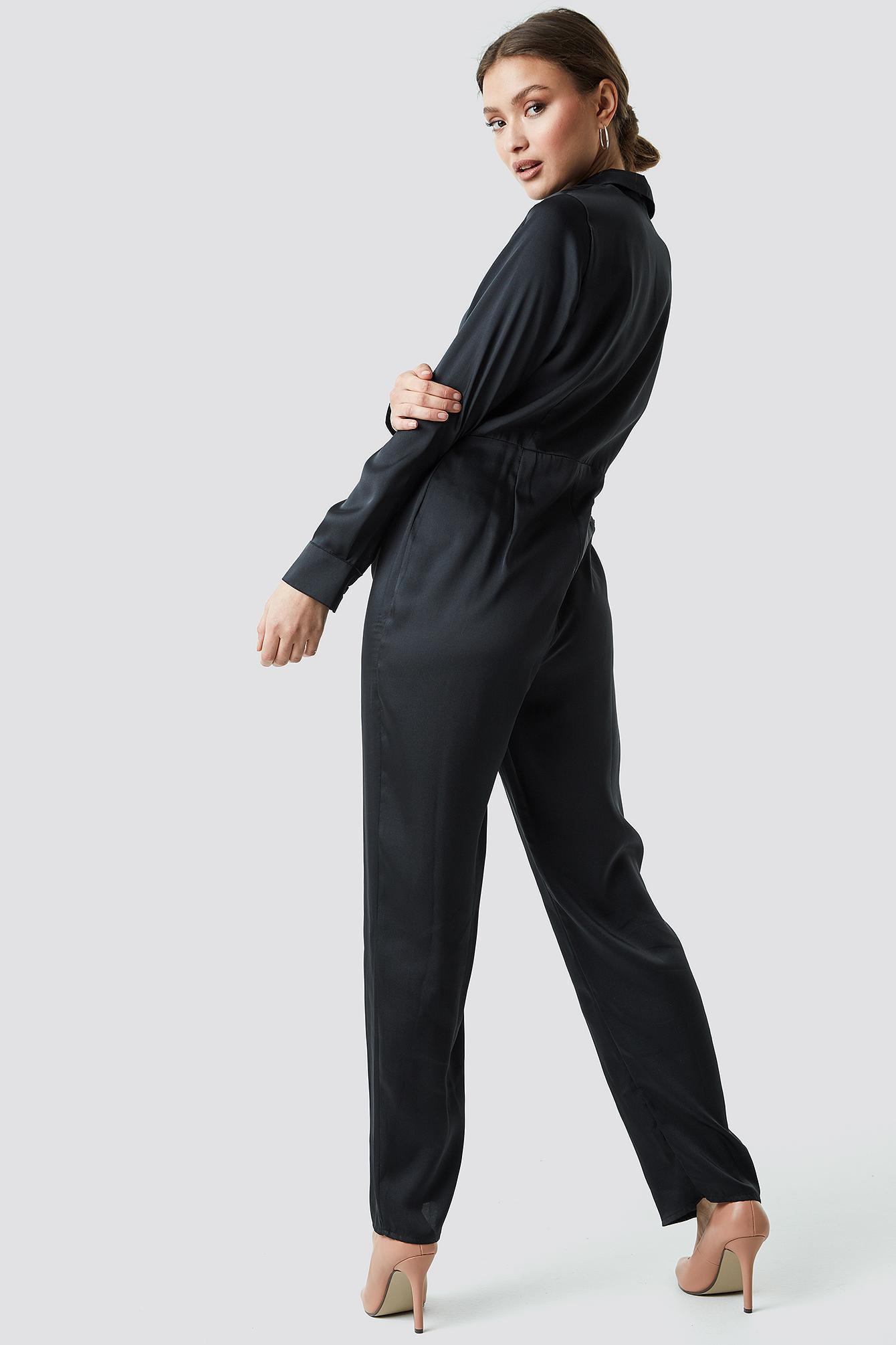 0bd7a0dde45f Lyst - NA-KD Satin Boilersuit Black in Black
