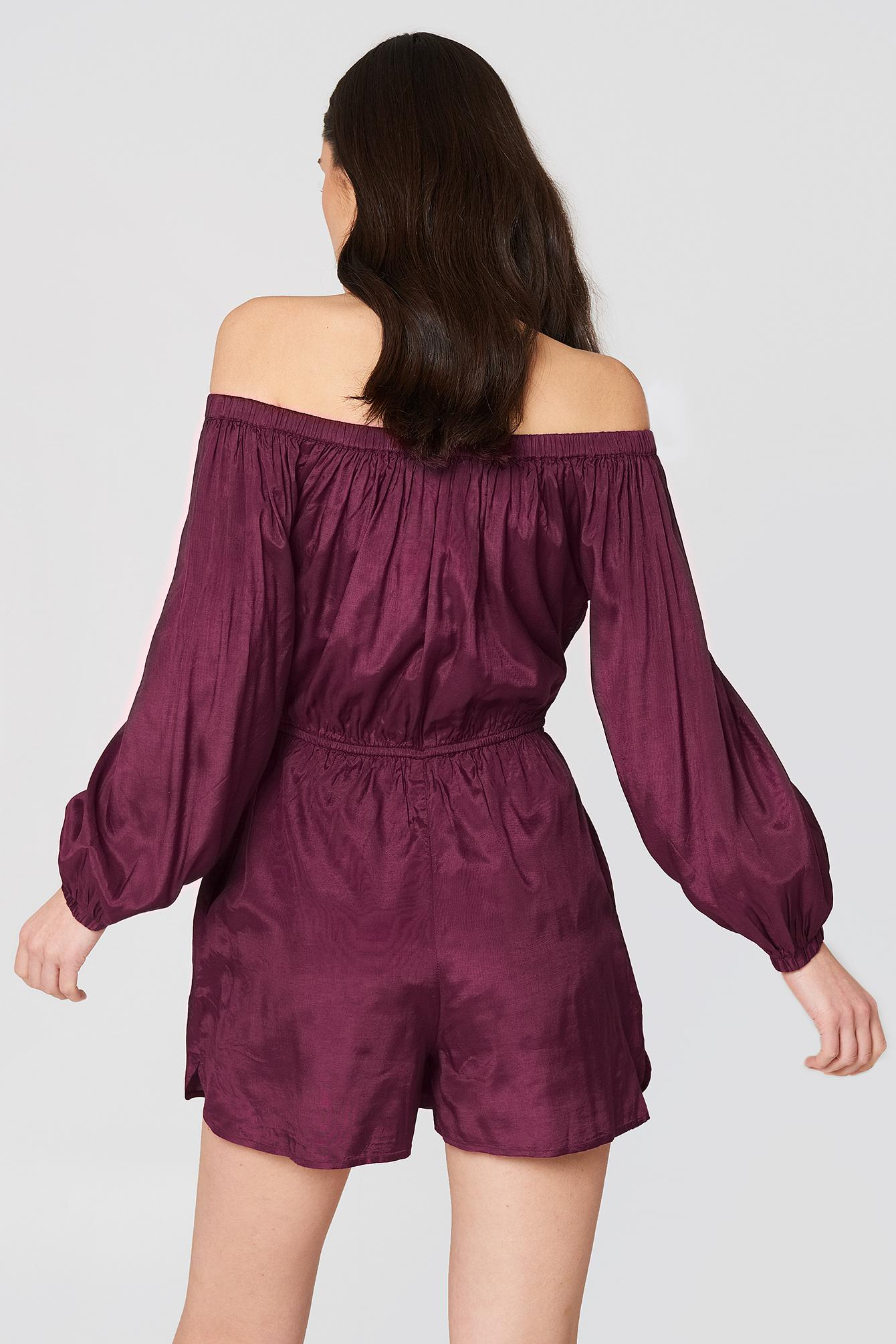 5f387a740b377f NA-KD - Purple Off Shoulder Balloon Sleeve Playsuit Burgundy - Lyst. View  fullscreen