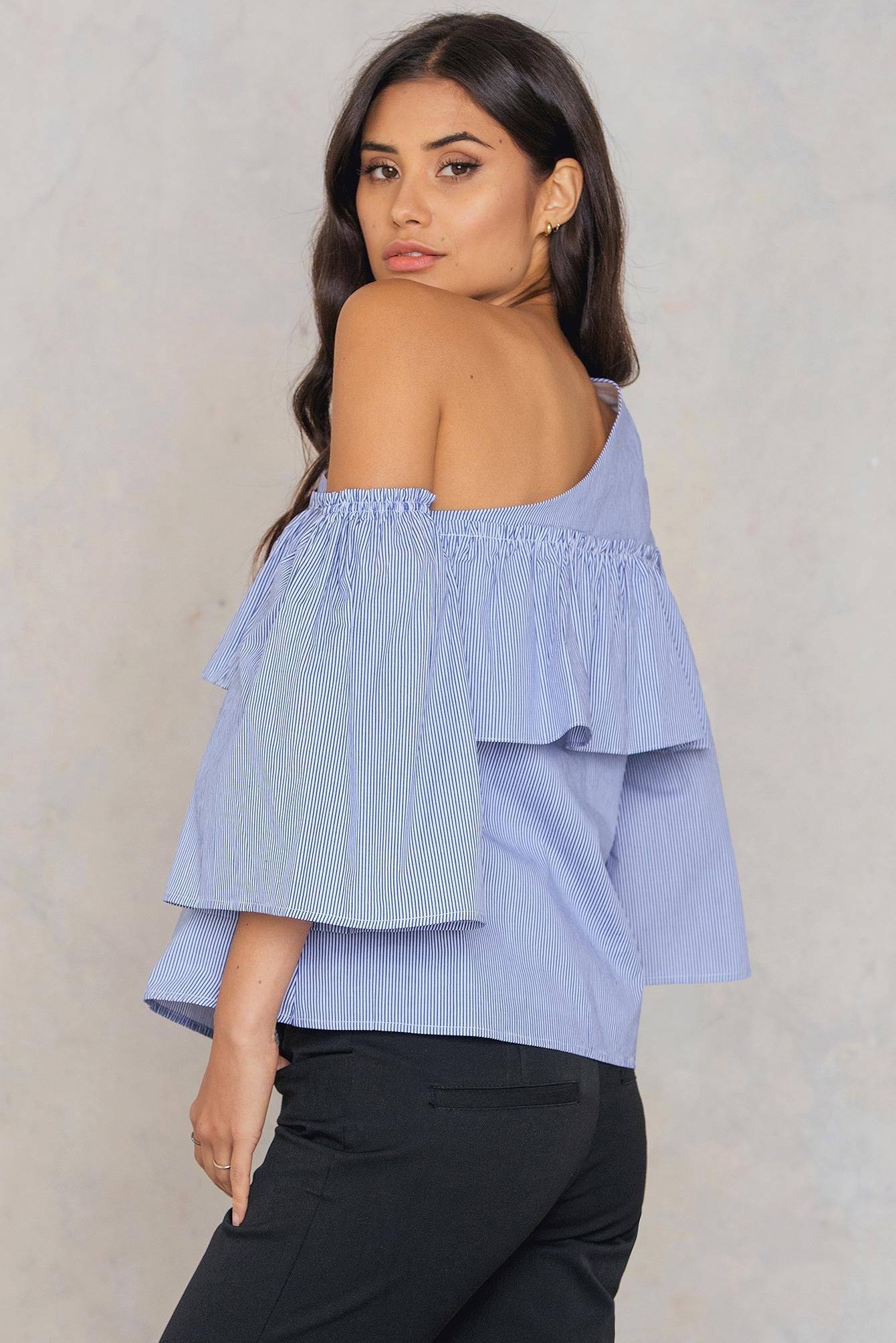 cdabdc6191305 ... Adeline One Shoulder Ruffle Top Blue white Stripe - Lyst. View  fullscreen