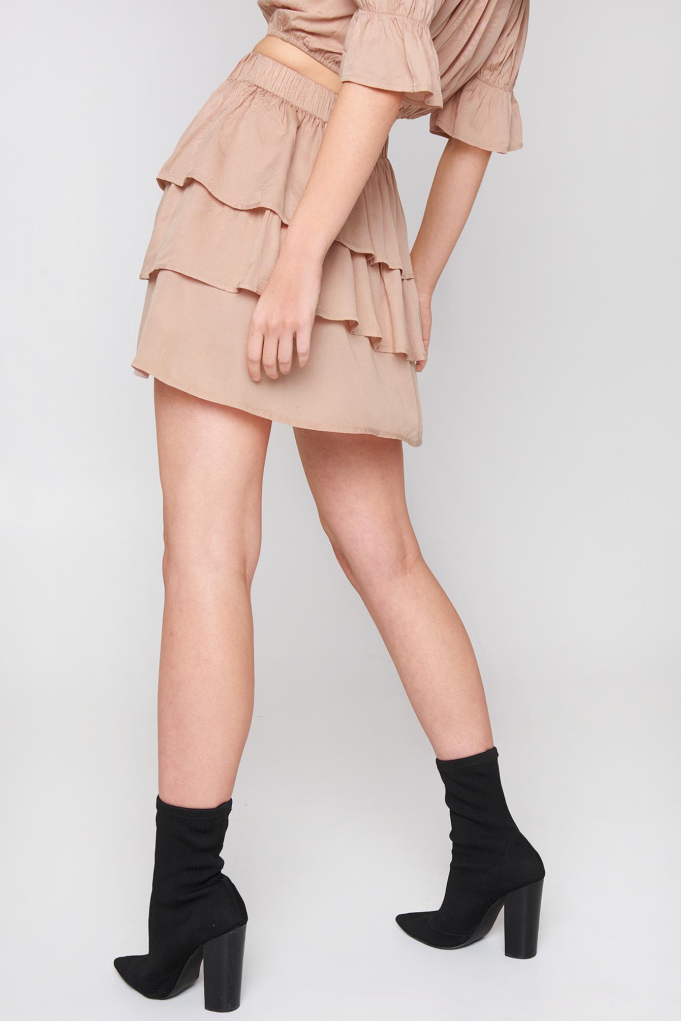 6156e6768b NA-KD Layered Mini Skirt Nude - Lyst