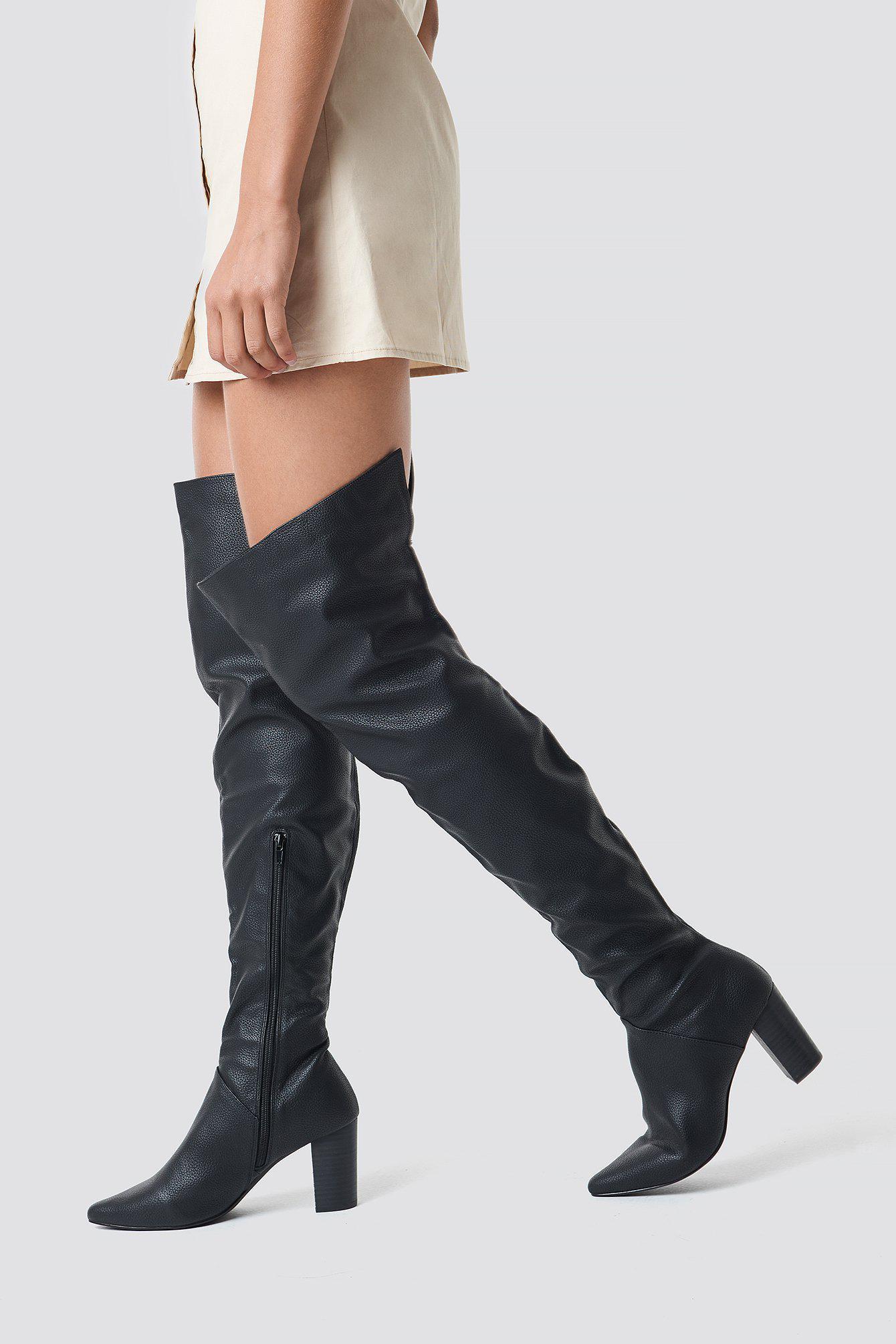 brand new 95fd8 9012a NA-KD. Women s Classic Overknee Boots Black