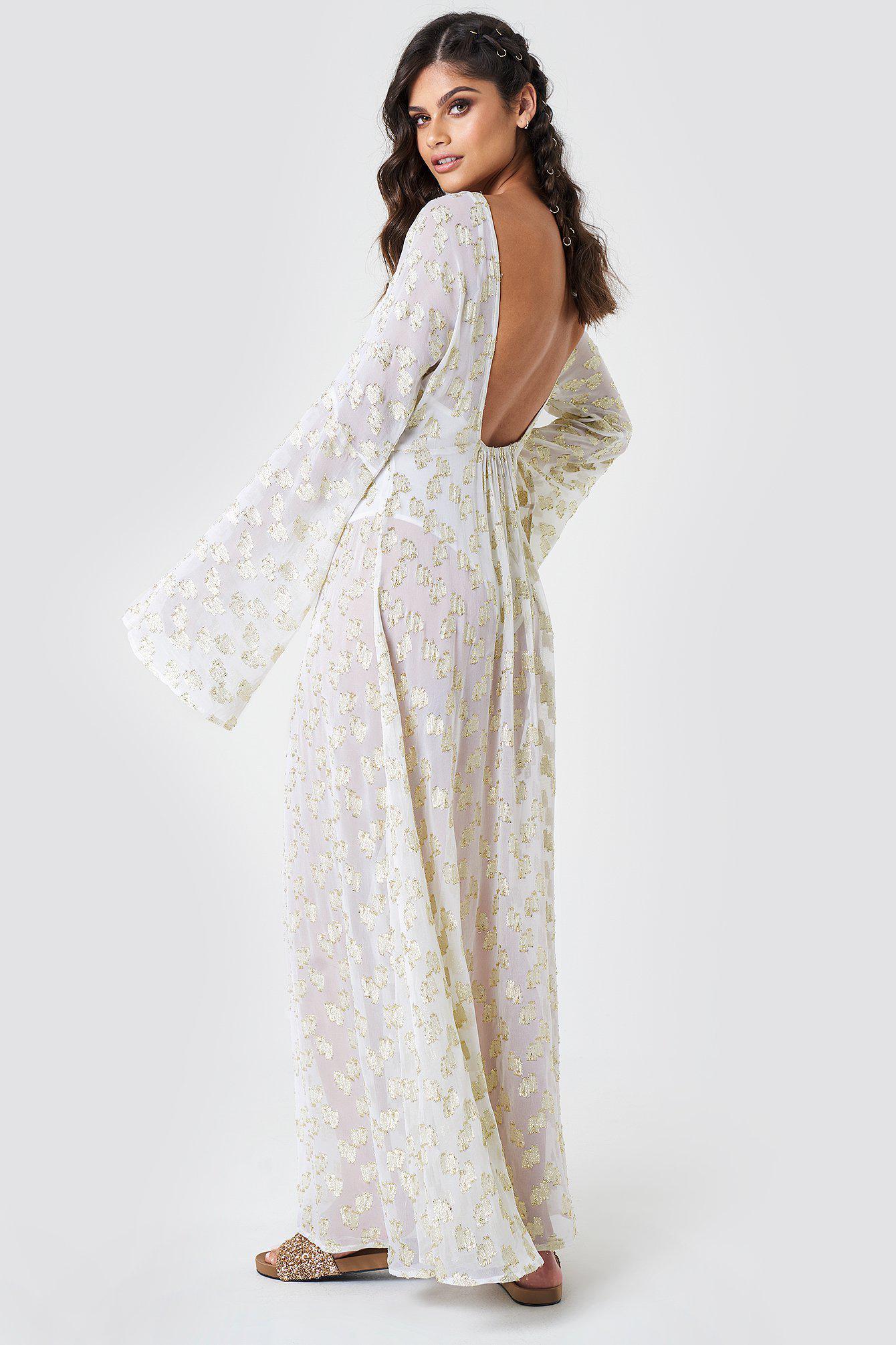 Lyst - Na-Kd Open Back Glitter Maxi Dress White in White 8a04080f0f
