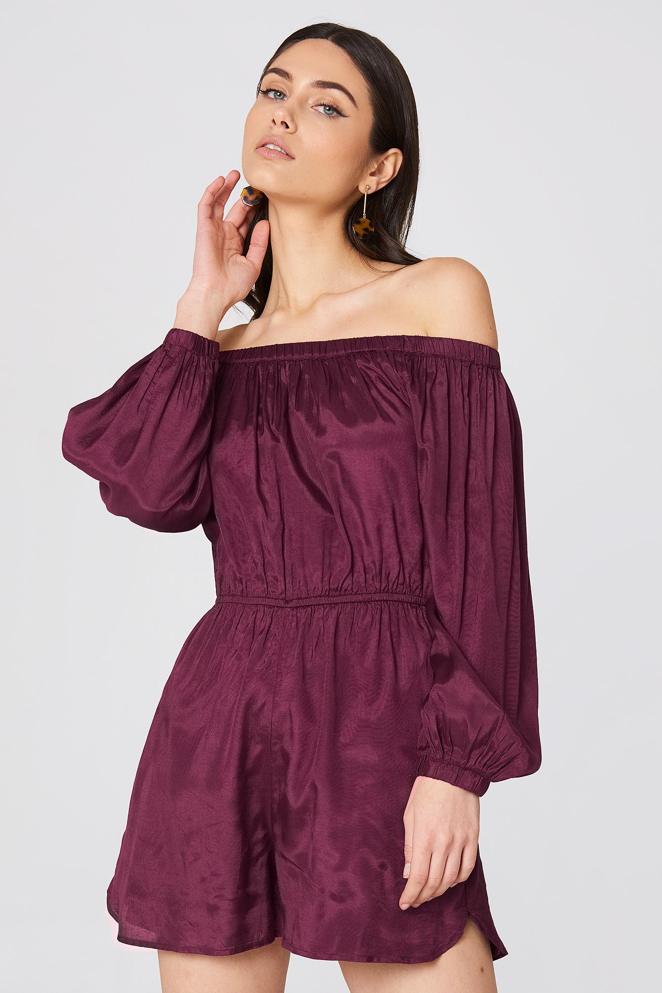 ae03cb2ee1fce1 NA-KD Off Shoulder Balloon Sleeve Playsuit Burgundy in Purple - Lyst