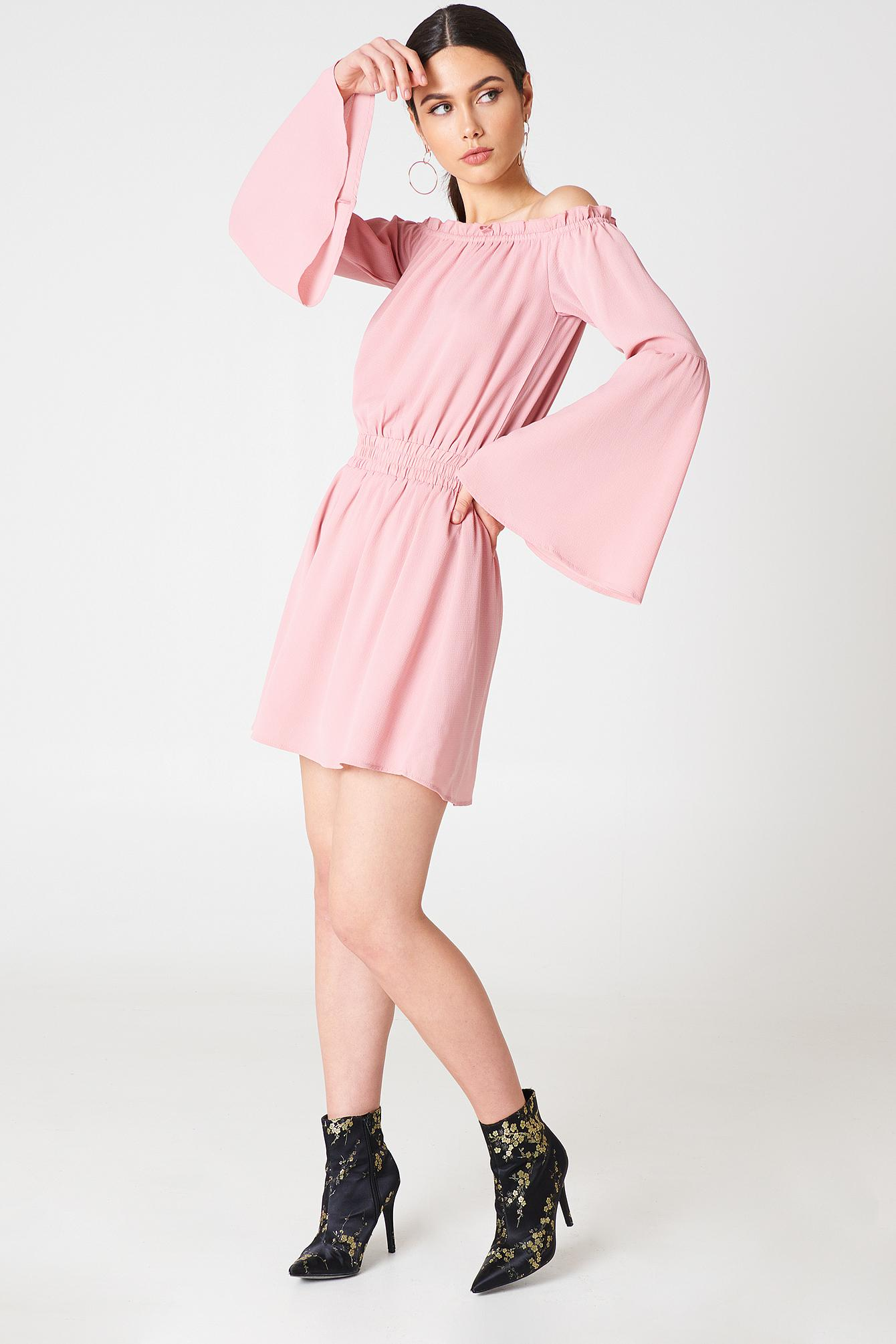 8468510fac0 NA-KD Wide Sleeve Off Shoulder Dress Light Pink in Pink - Lyst