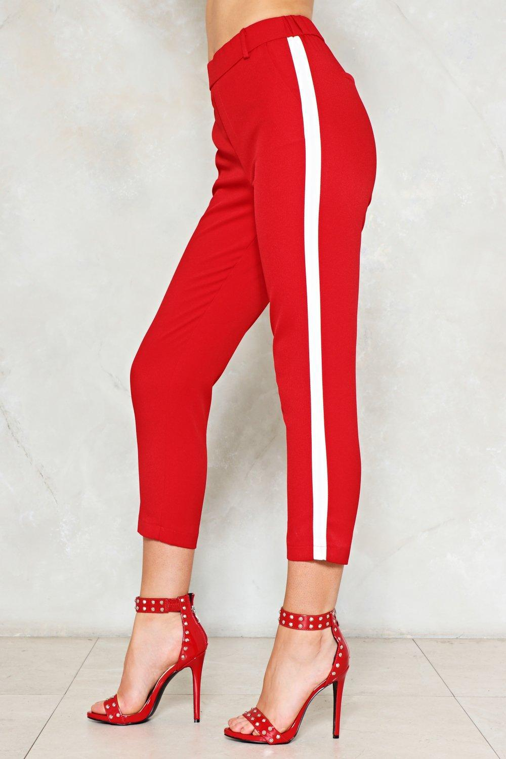 lyst nasty gal two steps twice striped pants in red