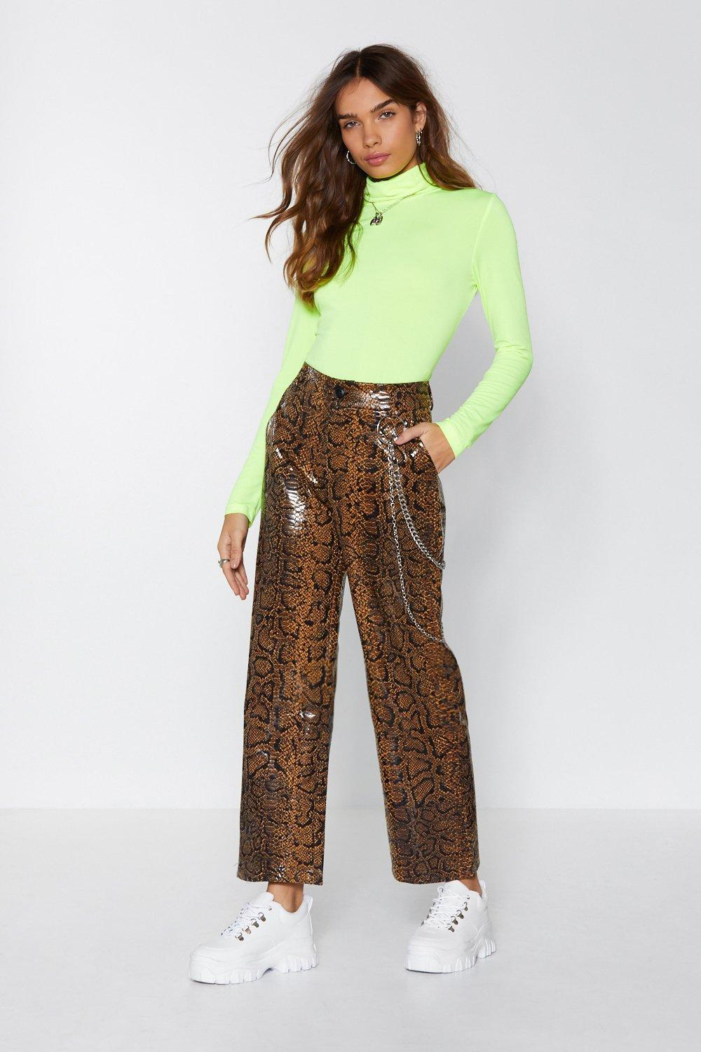 f46371d258f0e8 Nasty Gal. Women's Brown Hiss Independent Snake Trousers