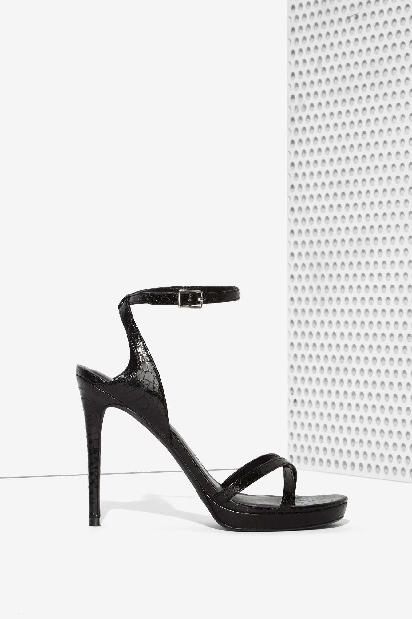 a22a8bca124c Lyst - Nasty Gal Jaime Textured Heel - Black in Black