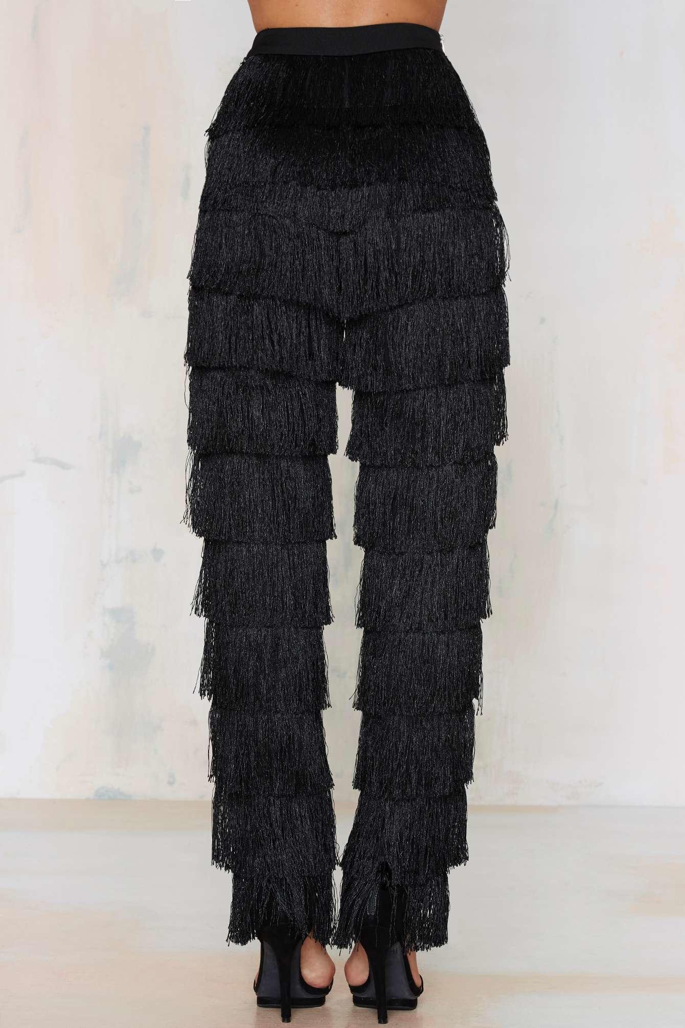 Lyst Nasty Gal Lavish Alice High Gear Fringe Pants In Black