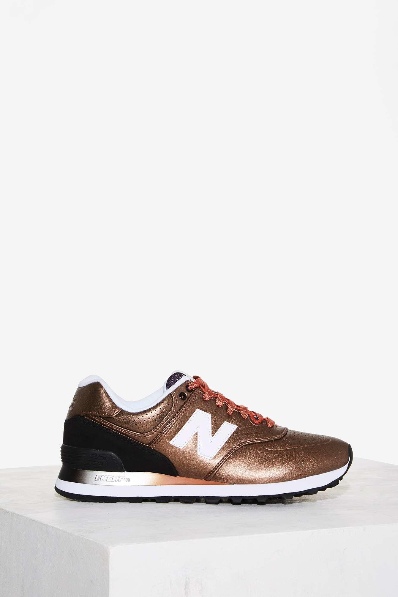 new balance 574 gradient metallic sneaker in metallic lyst. Black Bedroom Furniture Sets. Home Design Ideas
