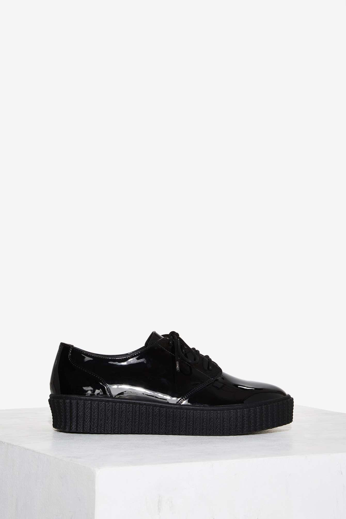 shellys patent leather oxford shoe in black