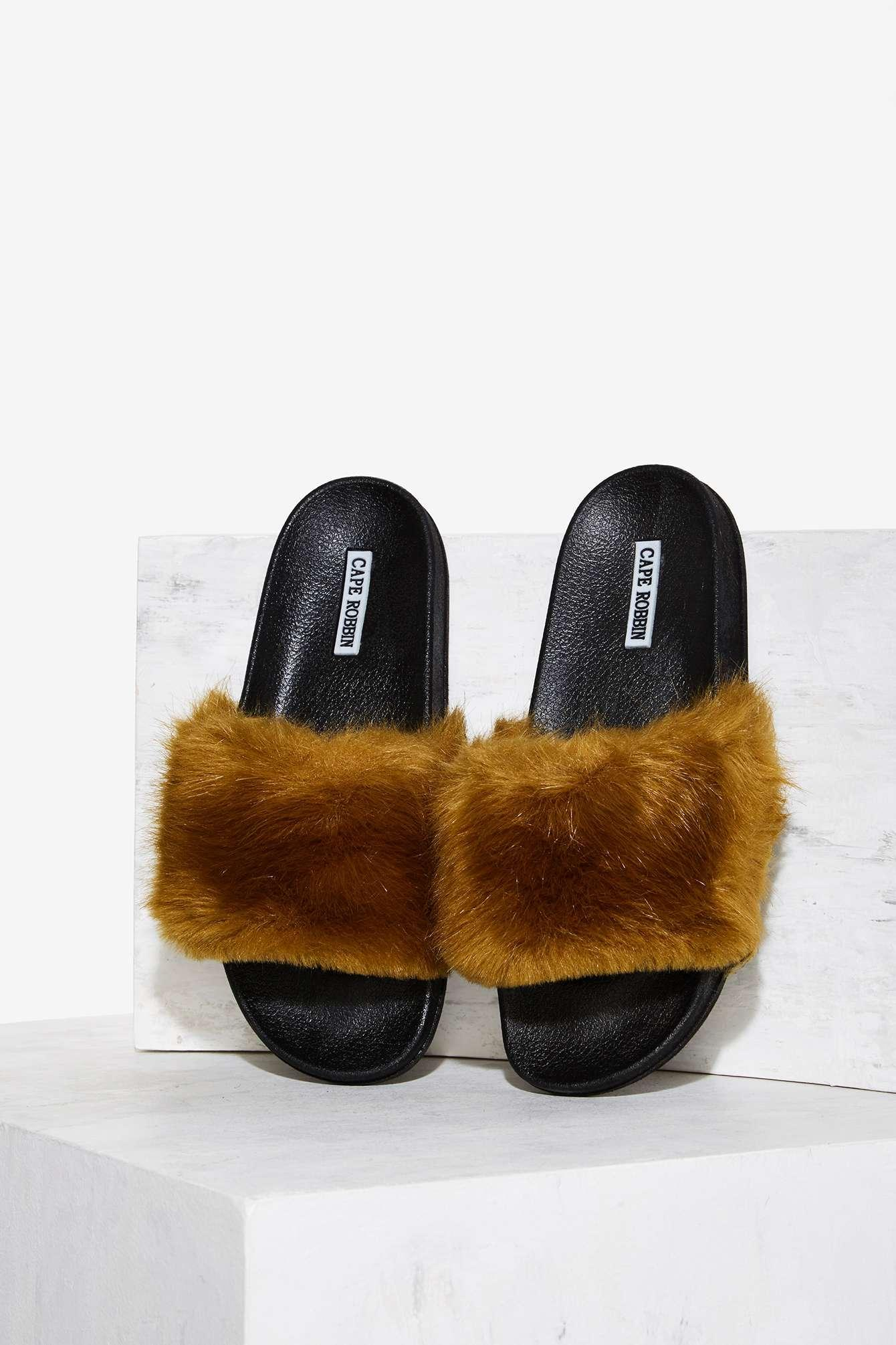 Lyst Nasty Gal Easy Touch Faux Fur Slide Sandal Olive