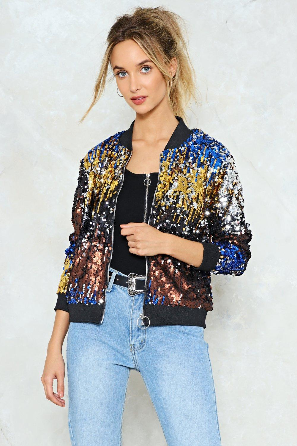 cbf8757fa Lyst - Nasty Gal Talk Of The Town Sequin Bomber Jacket Talk Of The ...