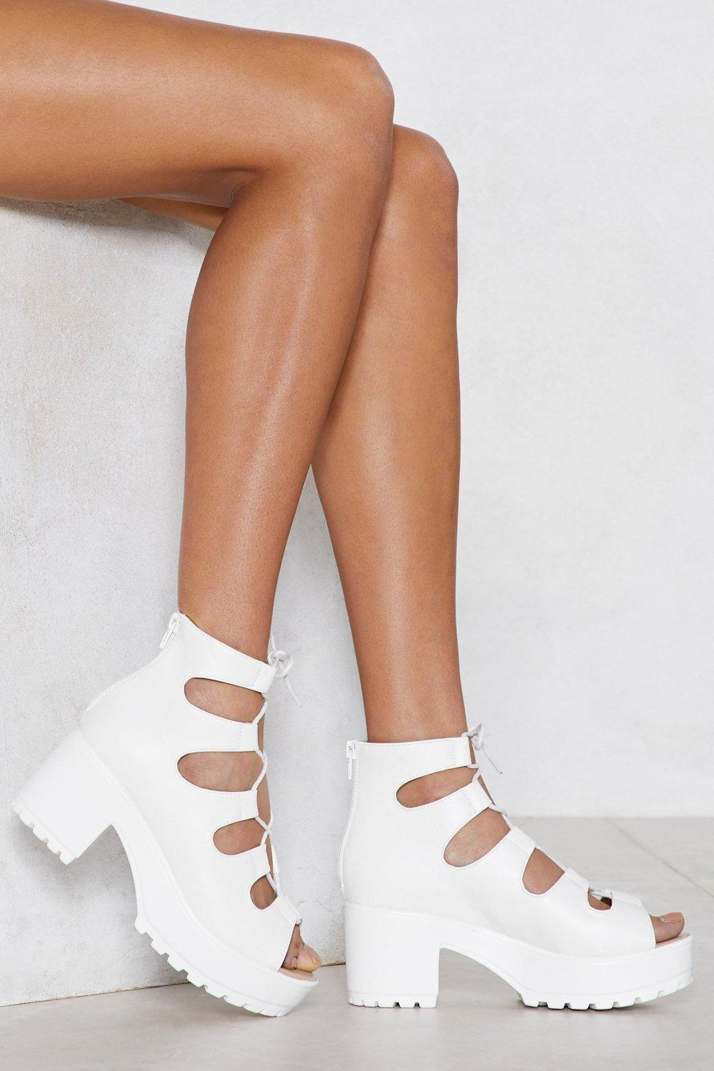 Nasty Gal. Women's White It's Up To You Heel Sandal