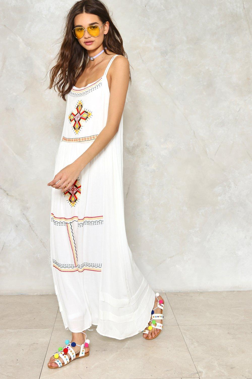 7f436567df0 Nasty Gal Sweep Me Off My Feet Embroidered Dress in White - Lyst
