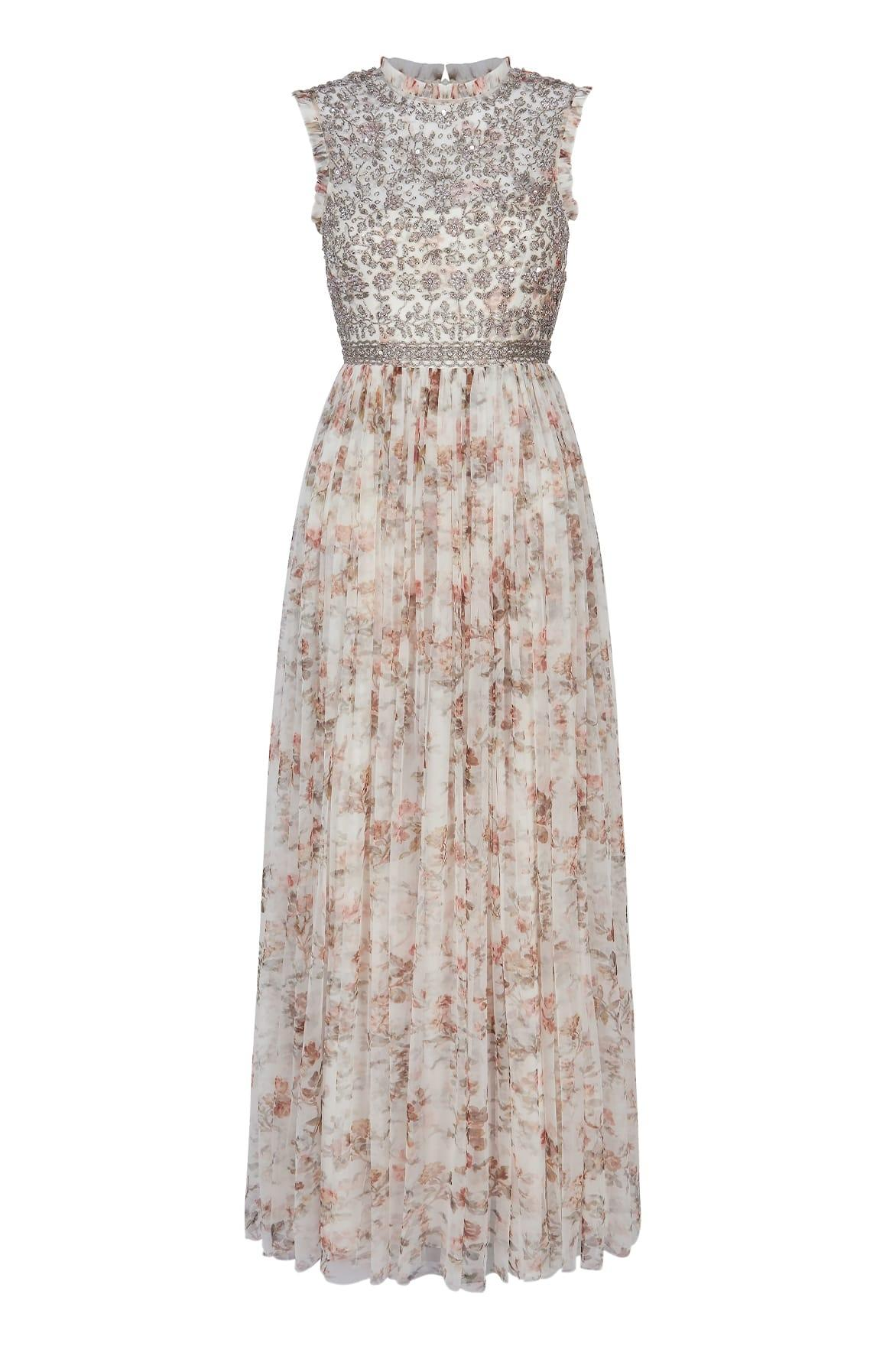 a593c8429f61 Lyst - Needle   Thread Andromeda Garland Sleeveless Gown in White