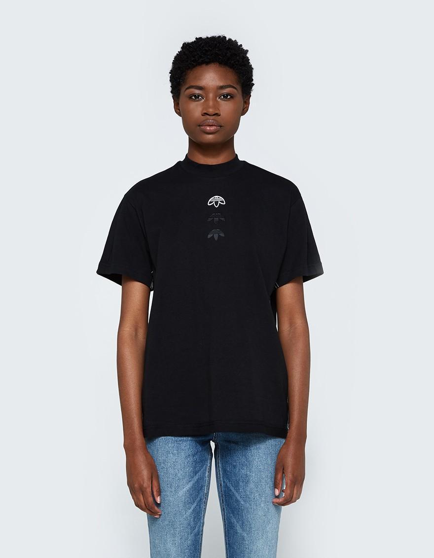 Lyst alexander wang logo tee in black in black for Alexander wang t shirt women