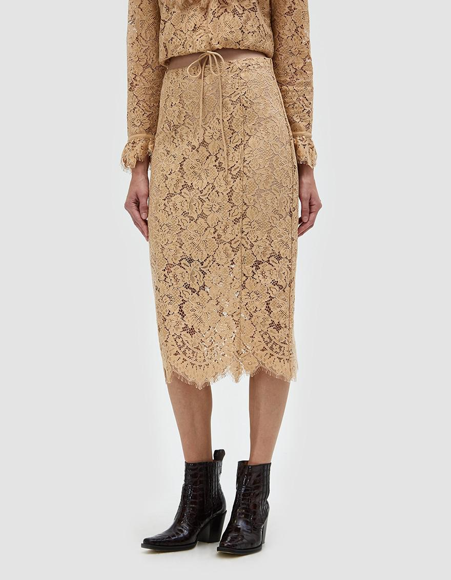 Ganni Jerome Lace Skirt in Natural - Lyst d5d8a4b643625